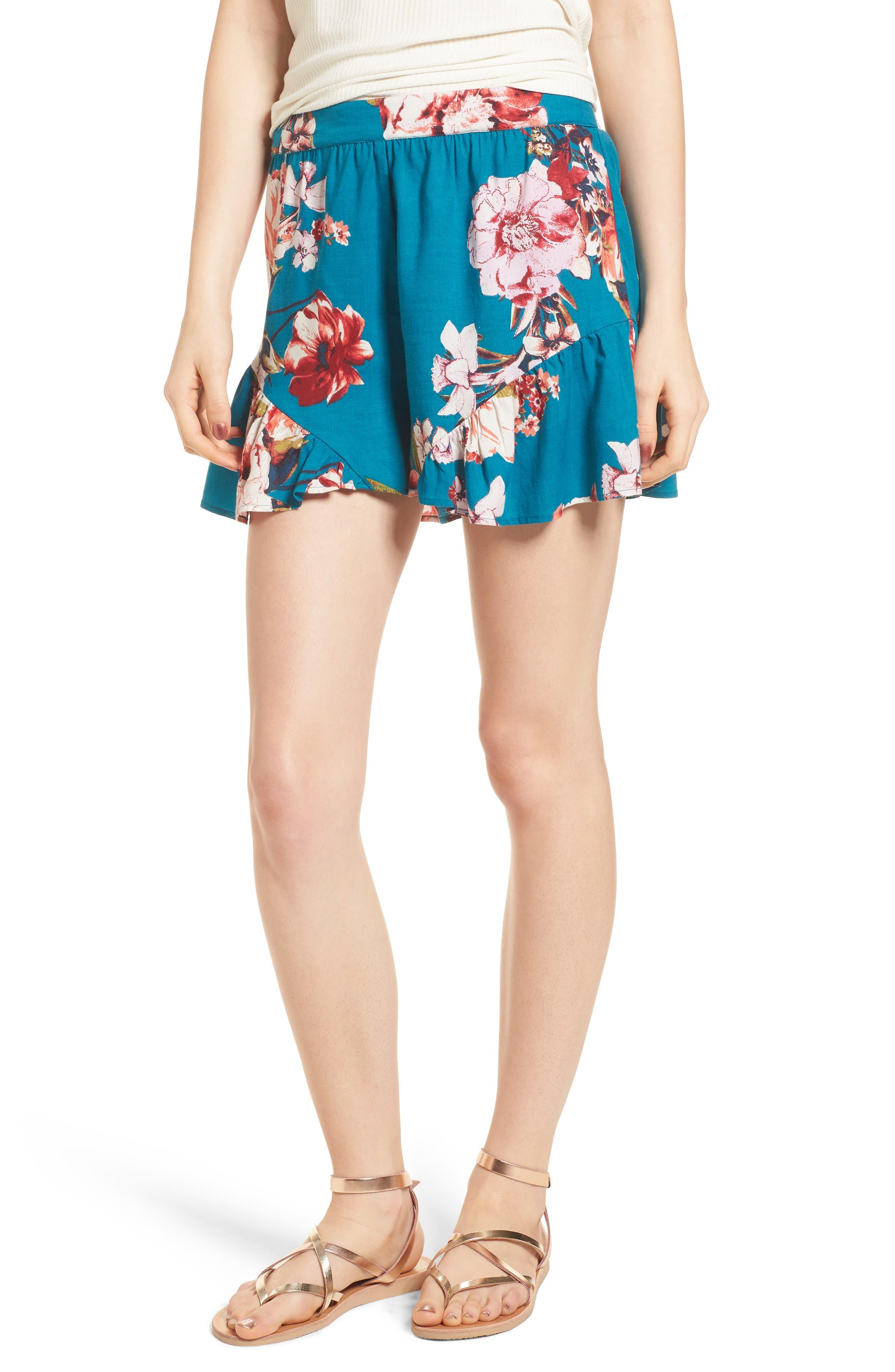 Floral Print Ruffle Hem Shorts,                             Main thumbnail 1, color,