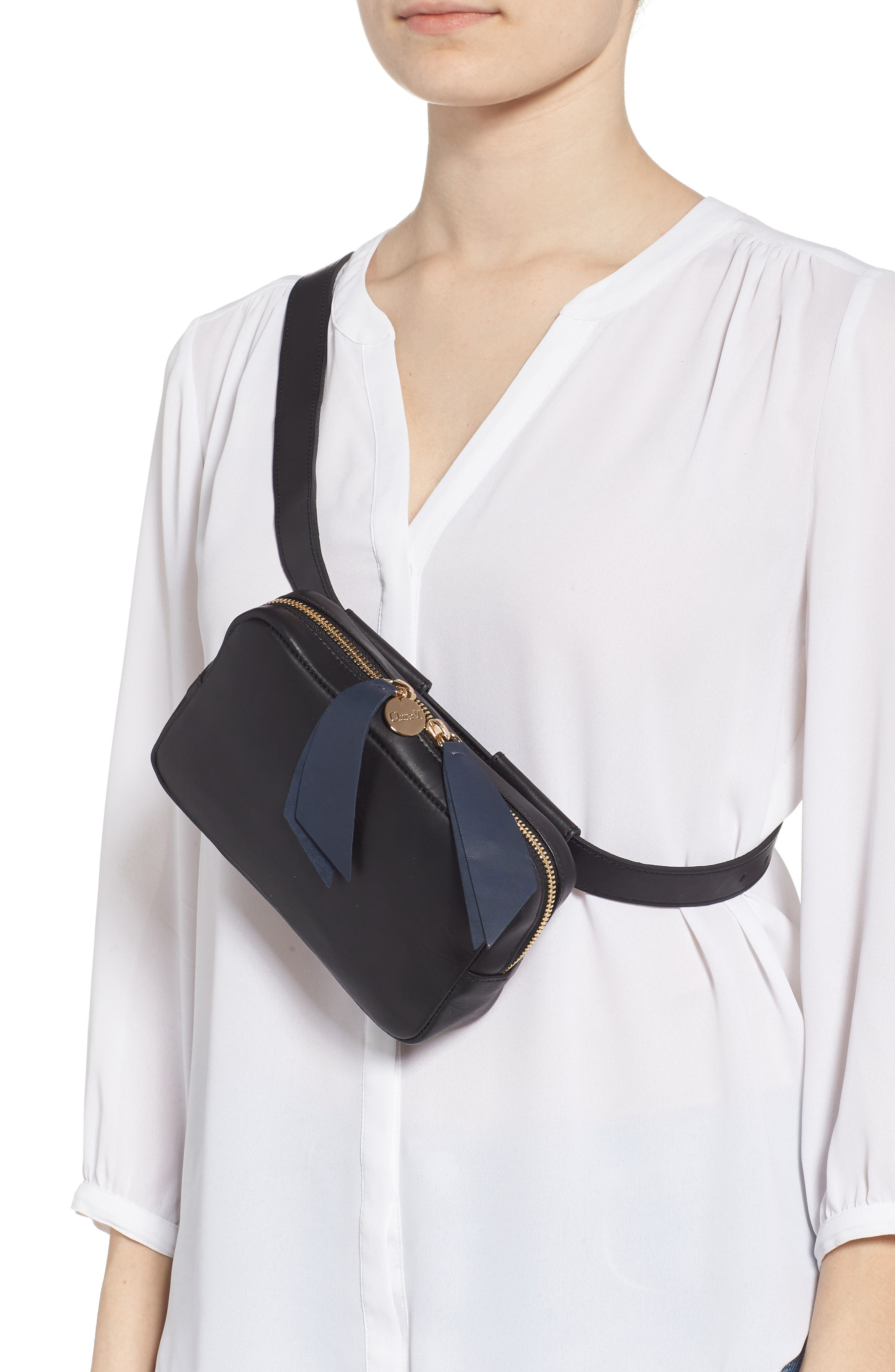 CLARE V.,                             Le Belt Leather Convertible Crossbody Bag,                             Alternate thumbnail 3, color,                             BLACK VEGAN