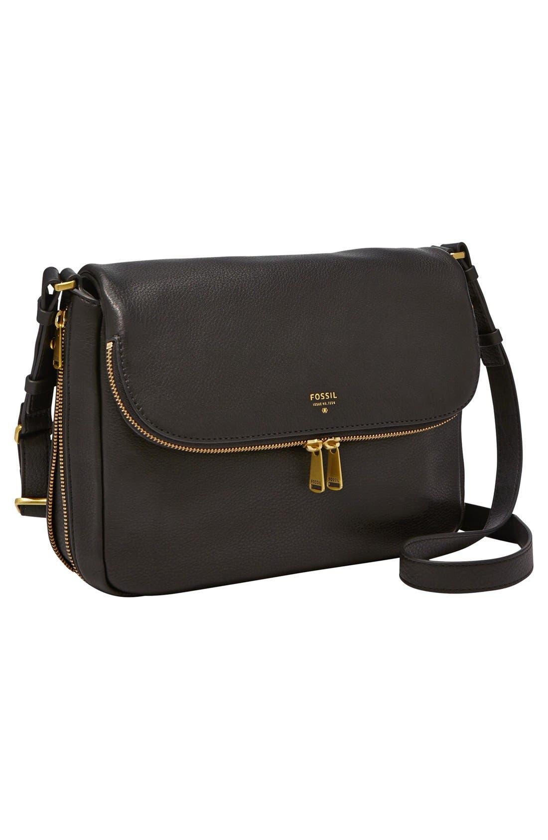 FOSSIL,                             'Preston' Leather Shoulder Bag,                             Alternate thumbnail 2, color,                             001