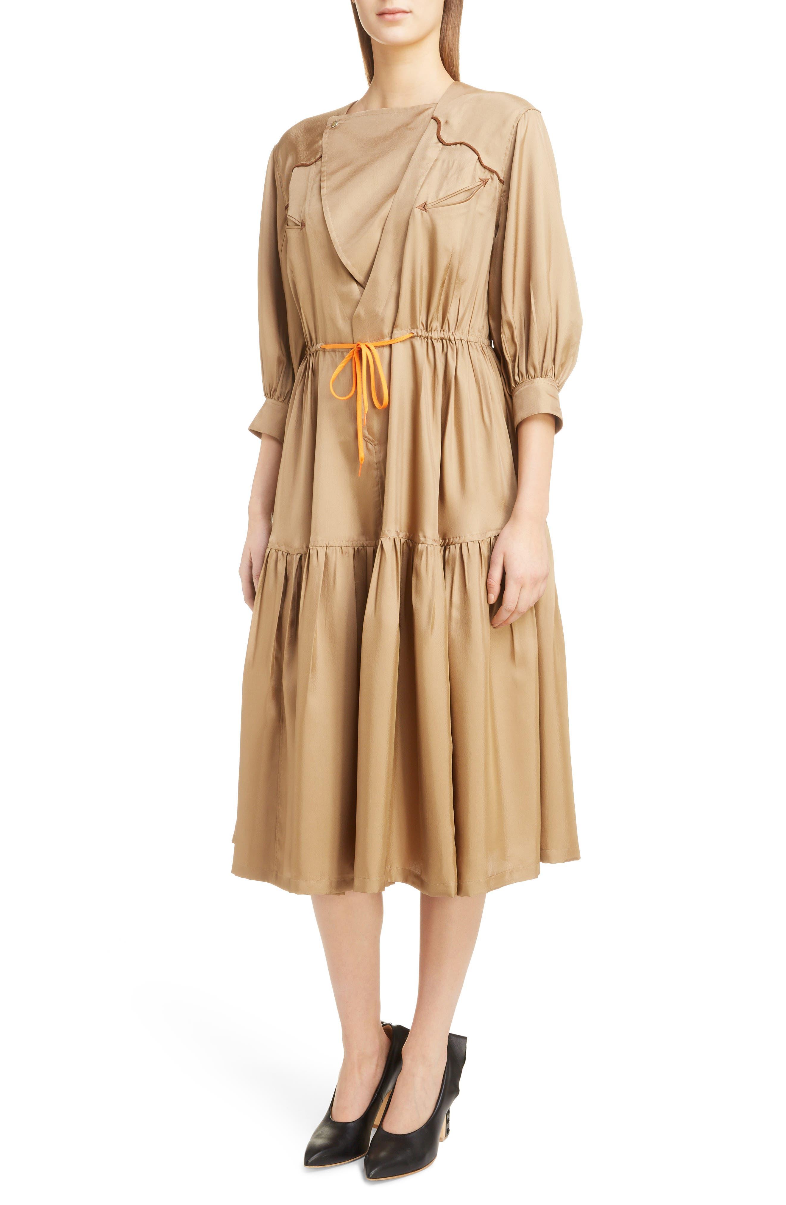 Twill Dress,                             Alternate thumbnail 4, color,                             BEIGE