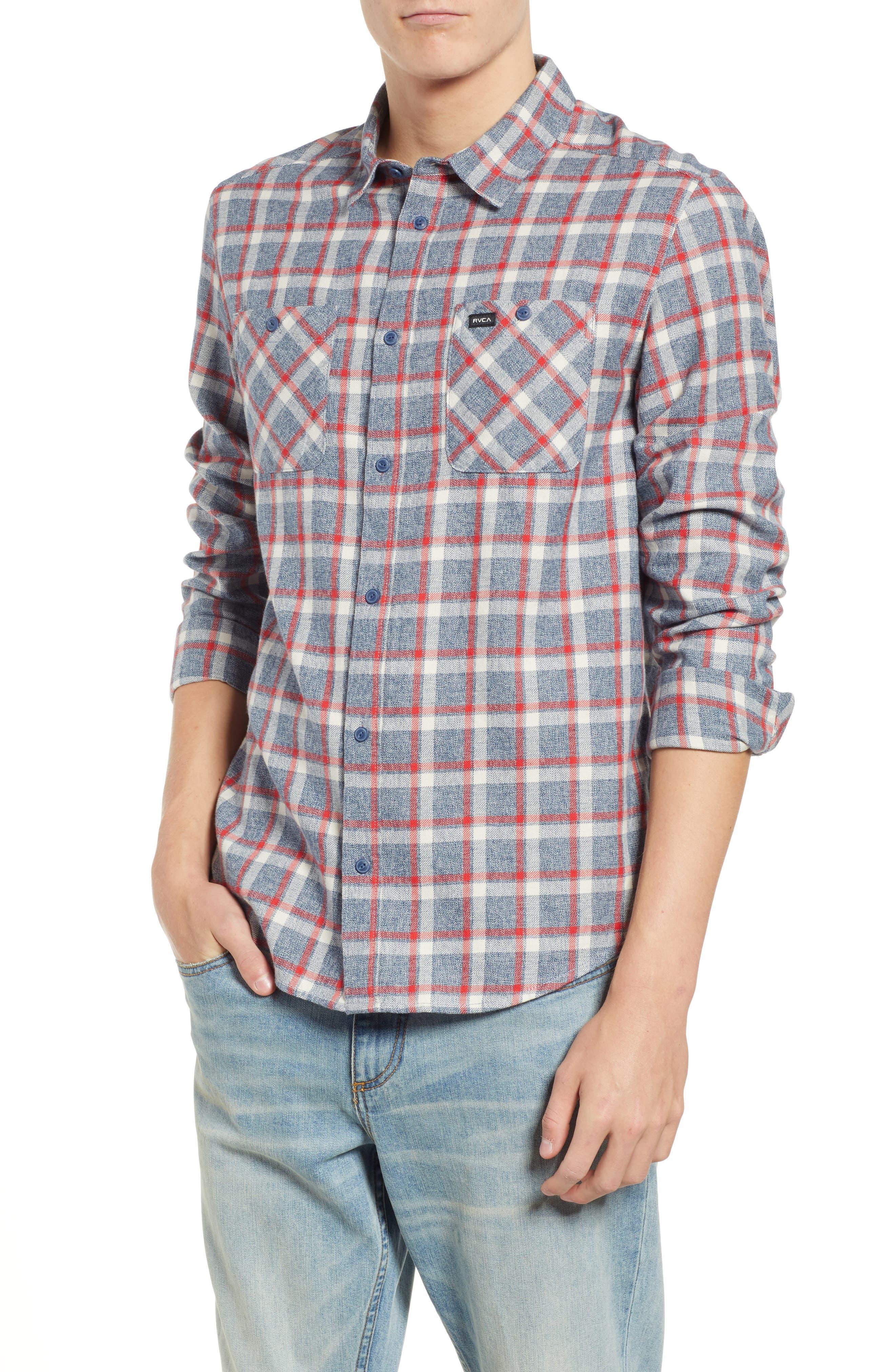Rvca Good Stuff Check Flannel Shirt, Blue