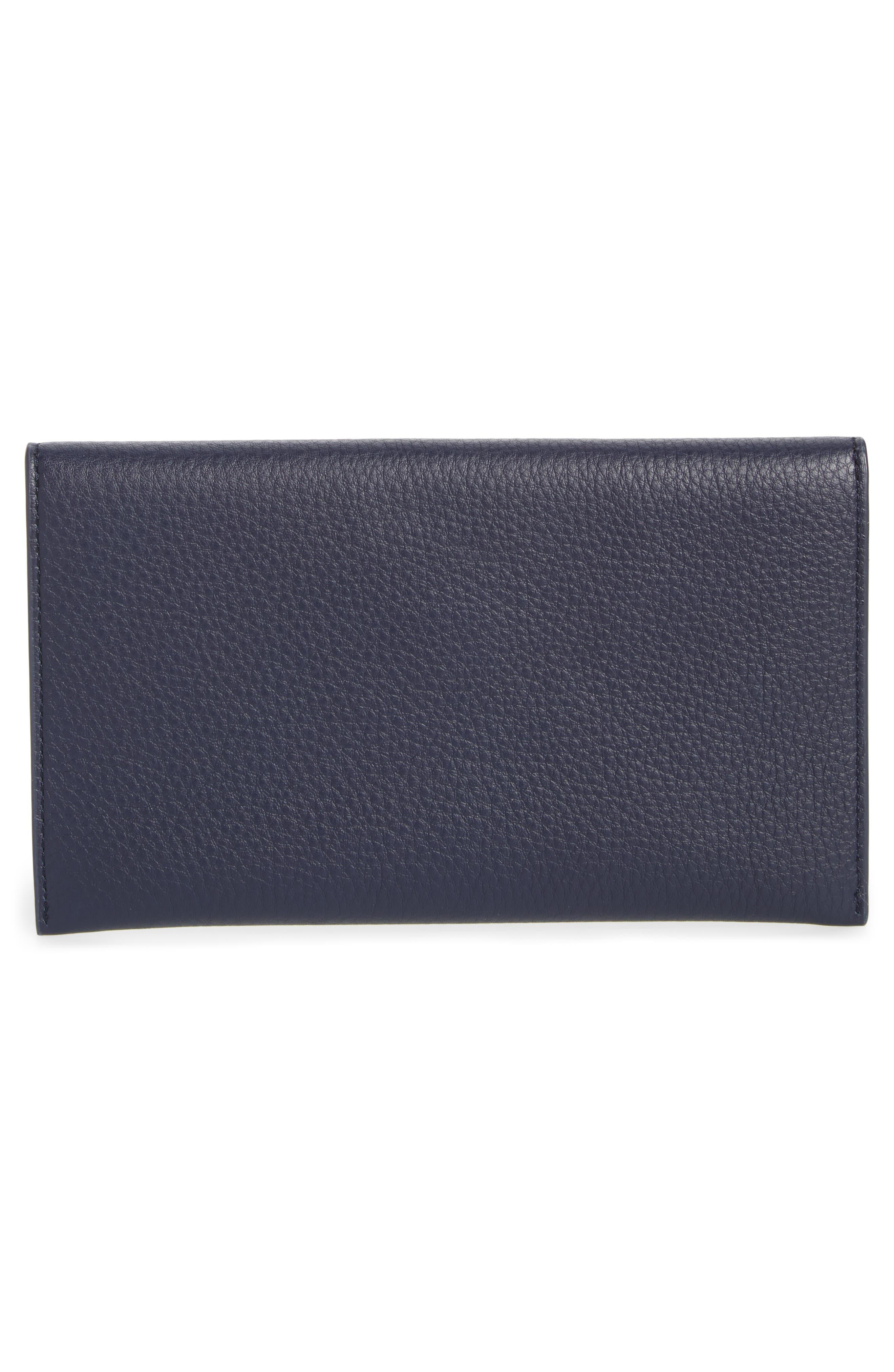 Leather Envelope Clutch,                             Alternate thumbnail 3, color,