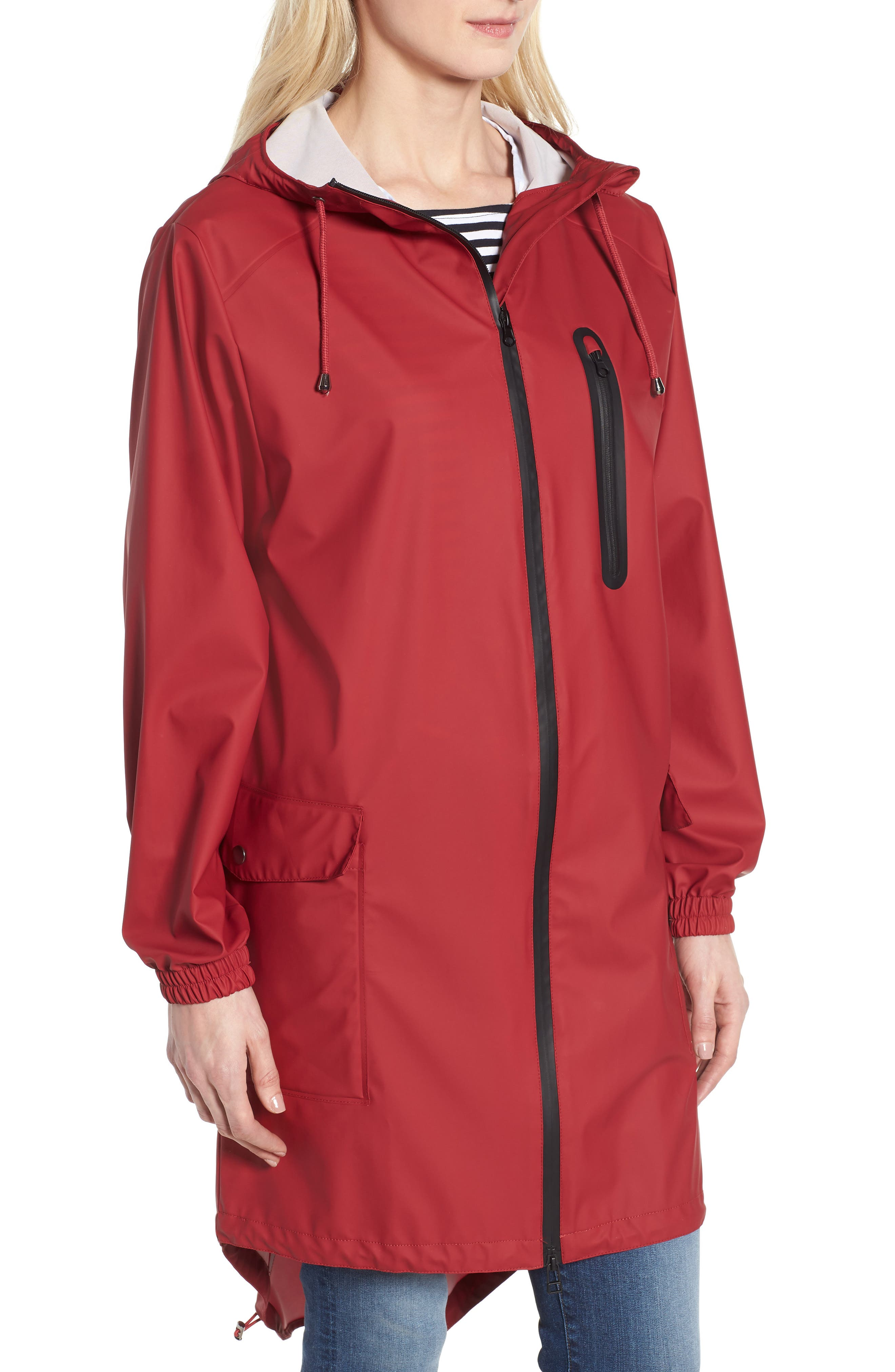 Hooded Rain Topper Jacket,                             Alternate thumbnail 4, color,                             RED