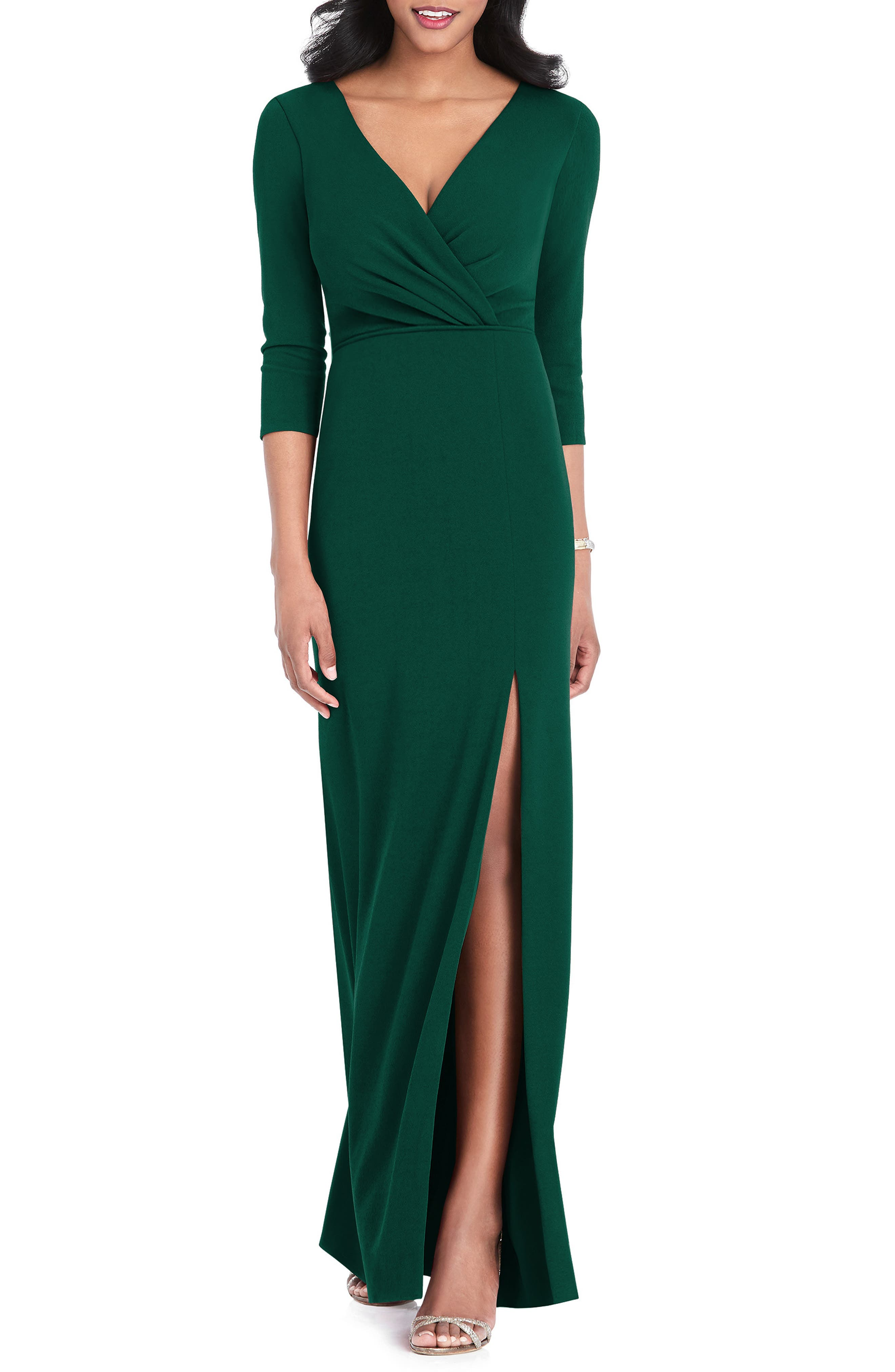 After Six Surplice Stretch Crepe Gown, Green