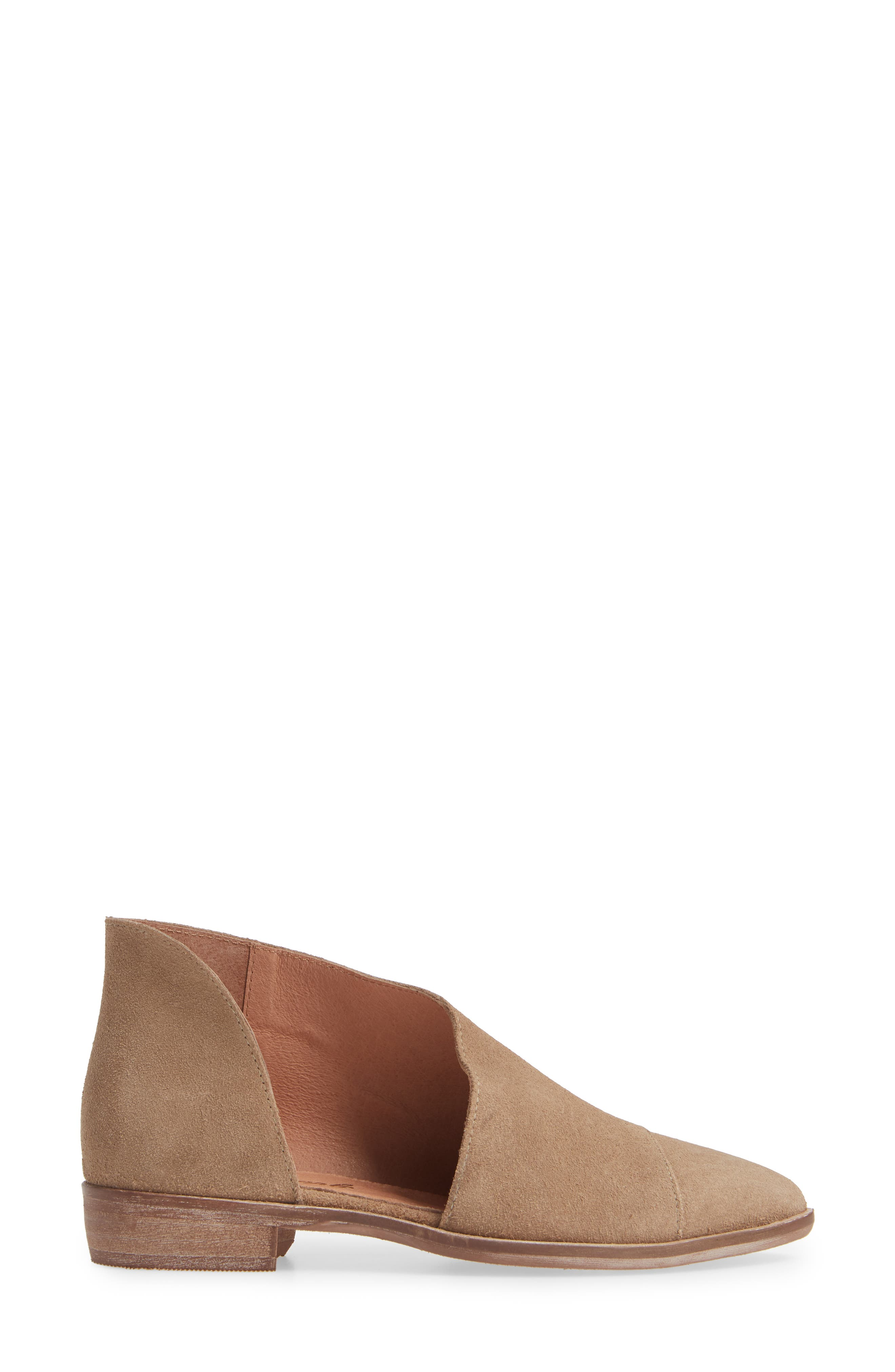 'Royale' Pointy Toe Flat,                             Alternate thumbnail 3, color,                             BEIGE SUEDE