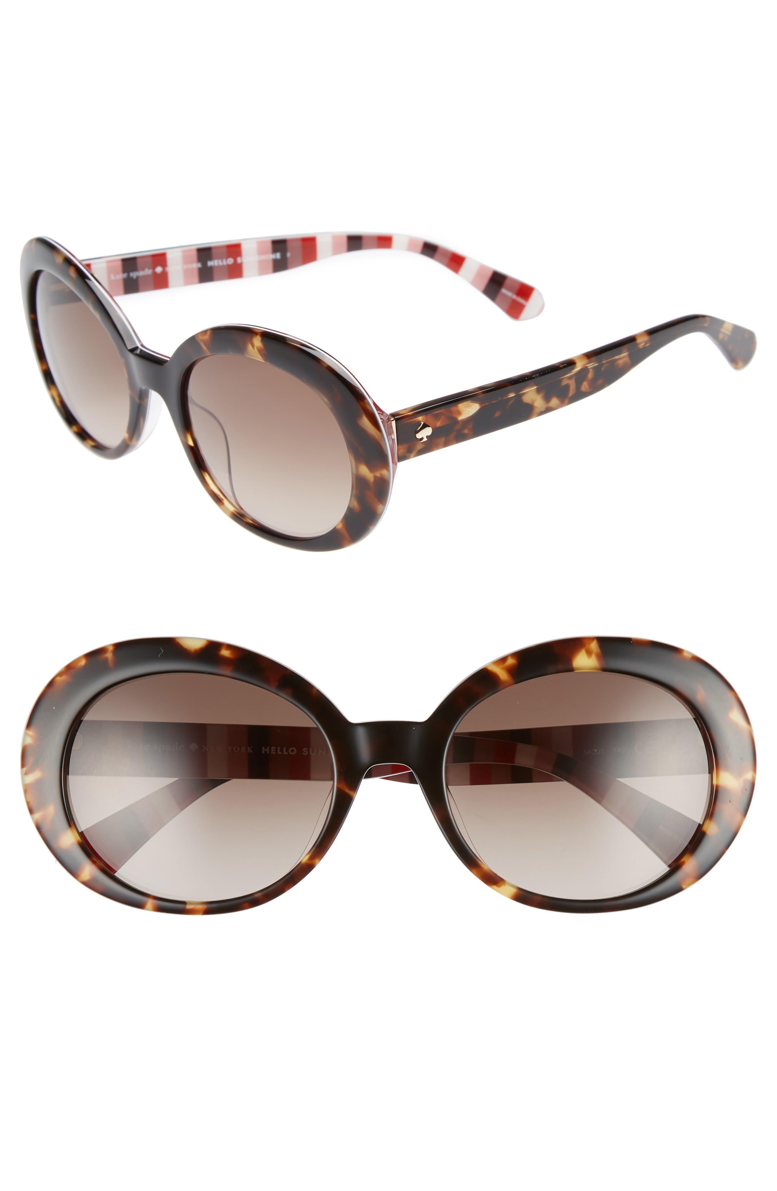 cindra 54mm gradient round sunglasses,                         Main,                         color, DARK HAVANA