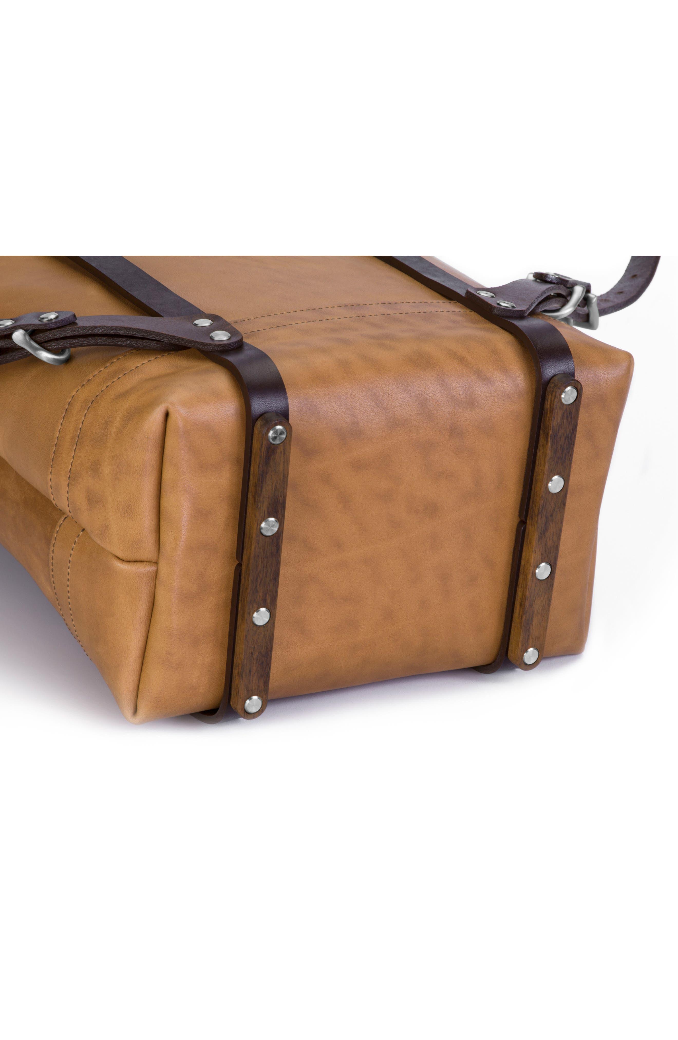 Keystone Nickel Detail Leather Rucksack,                             Alternate thumbnail 5, color,                             WHISKEY / NICKEL