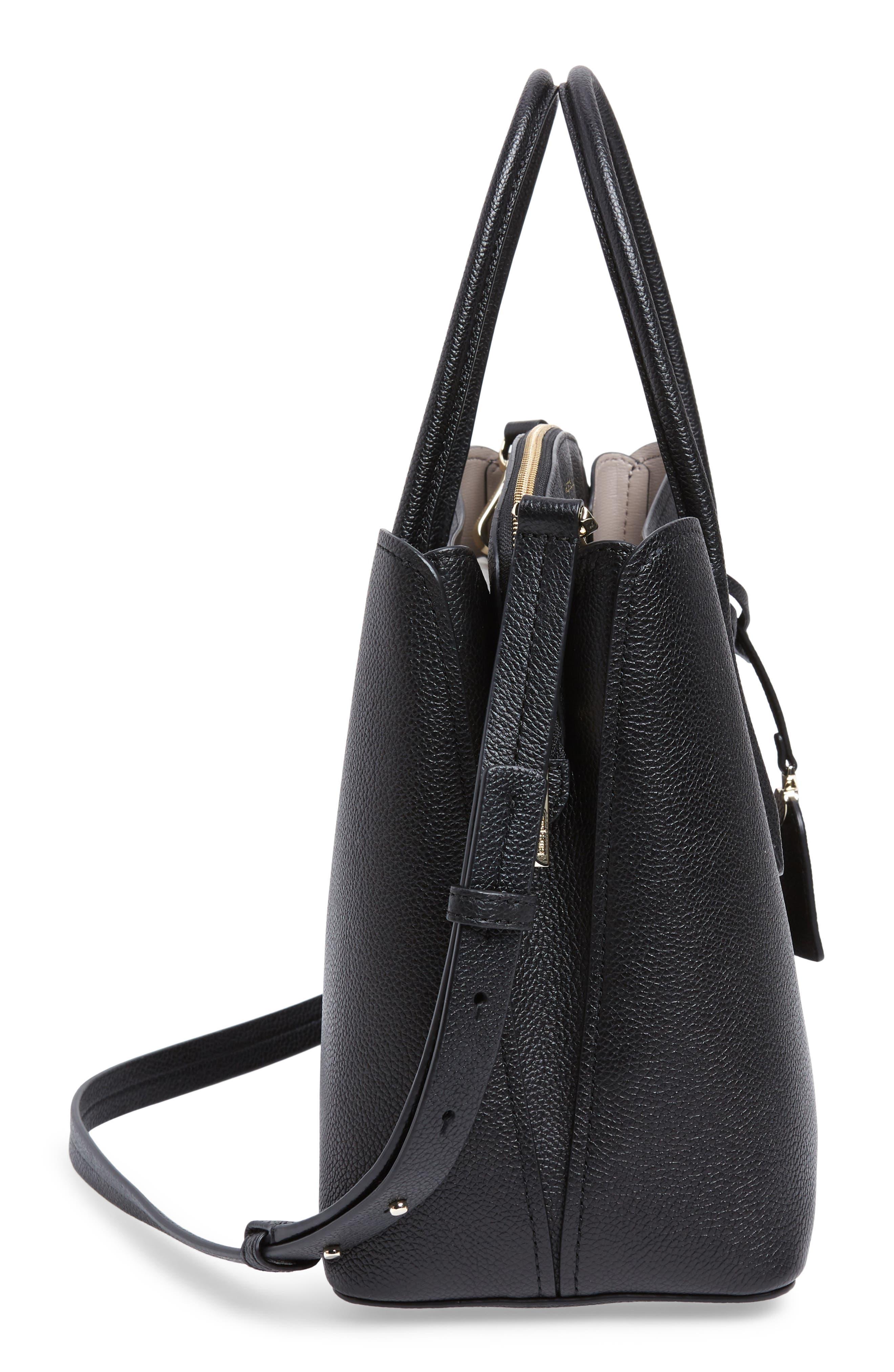 KATE SPADE NEW YORK,                             large margaux leather satchel,                             Alternate thumbnail 5, color,                             BLACK