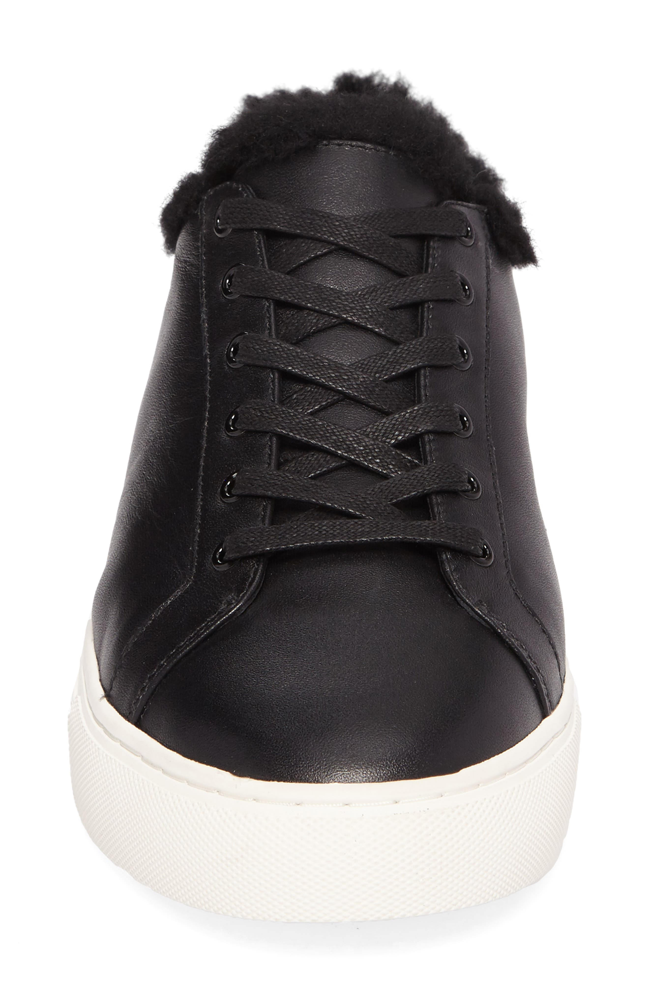 Lawrence Genuine Shearling Lined Sneaker,                             Alternate thumbnail 4, color,                             001