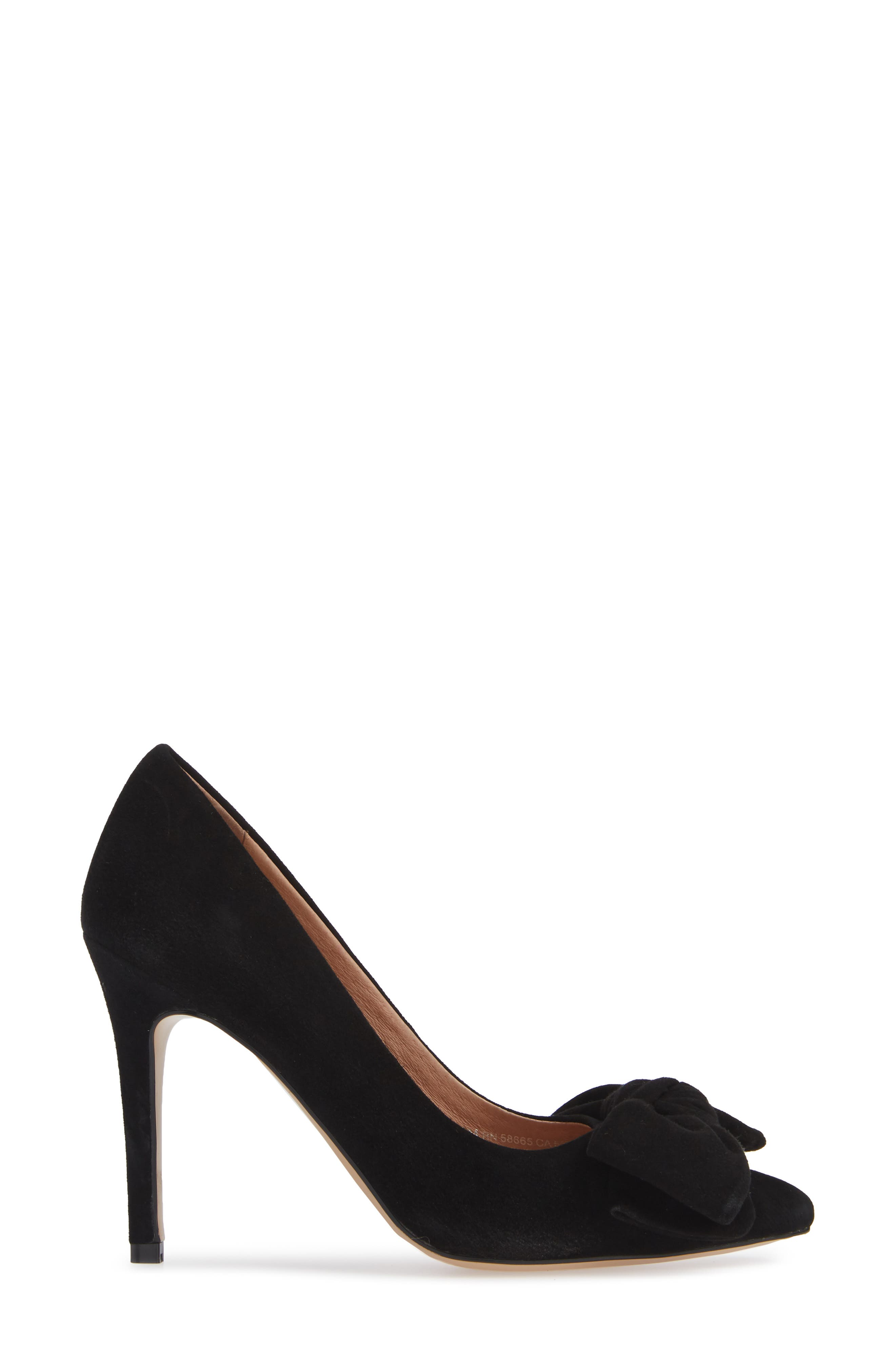 x Atlantic-Pacific Georgiana Bow Pump,                             Alternate thumbnail 5, color,                             BLACK SUEDE