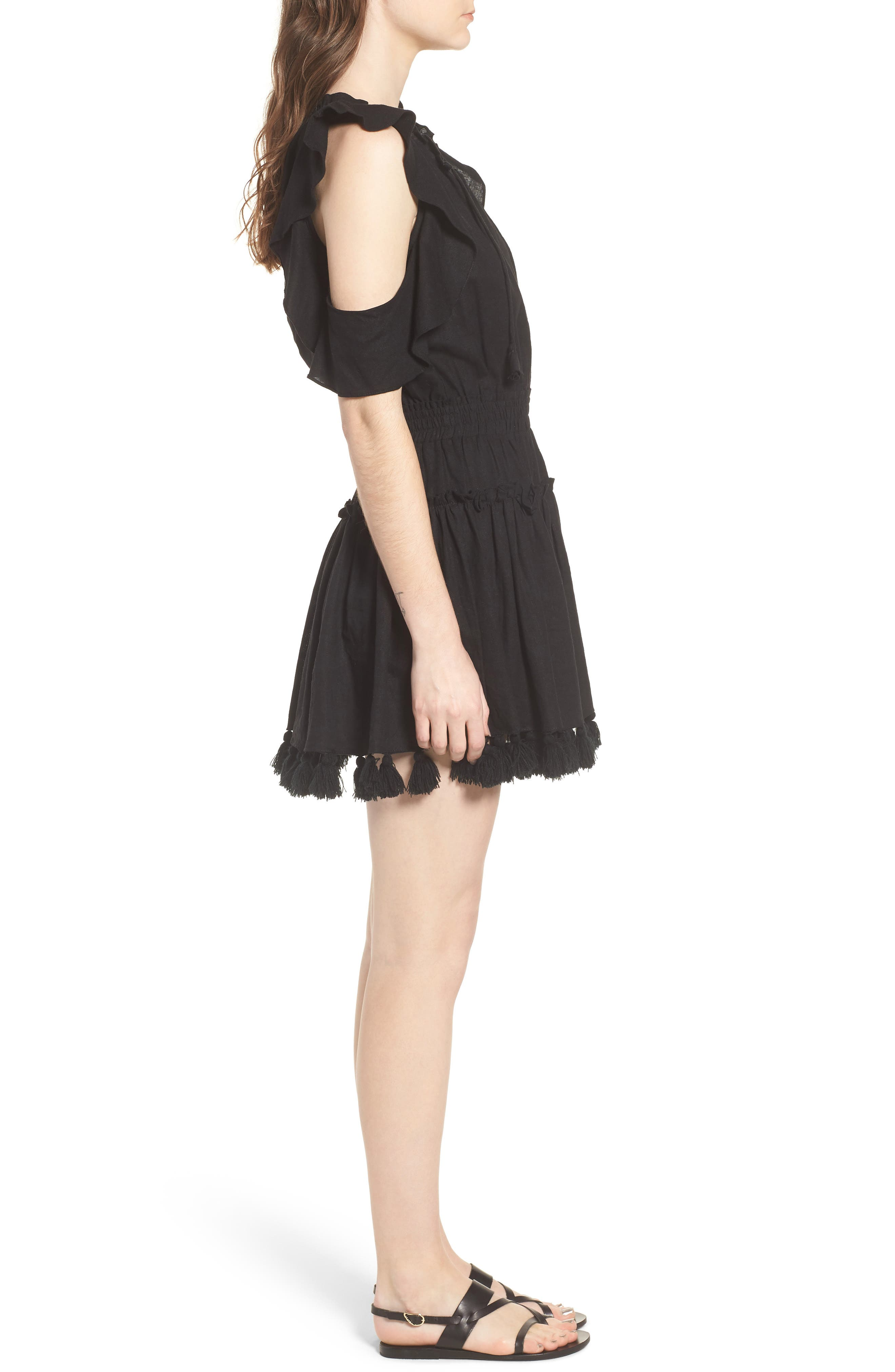 Selma Cold Shoulder Linen Blend Dress,                             Alternate thumbnail 3, color,                             001