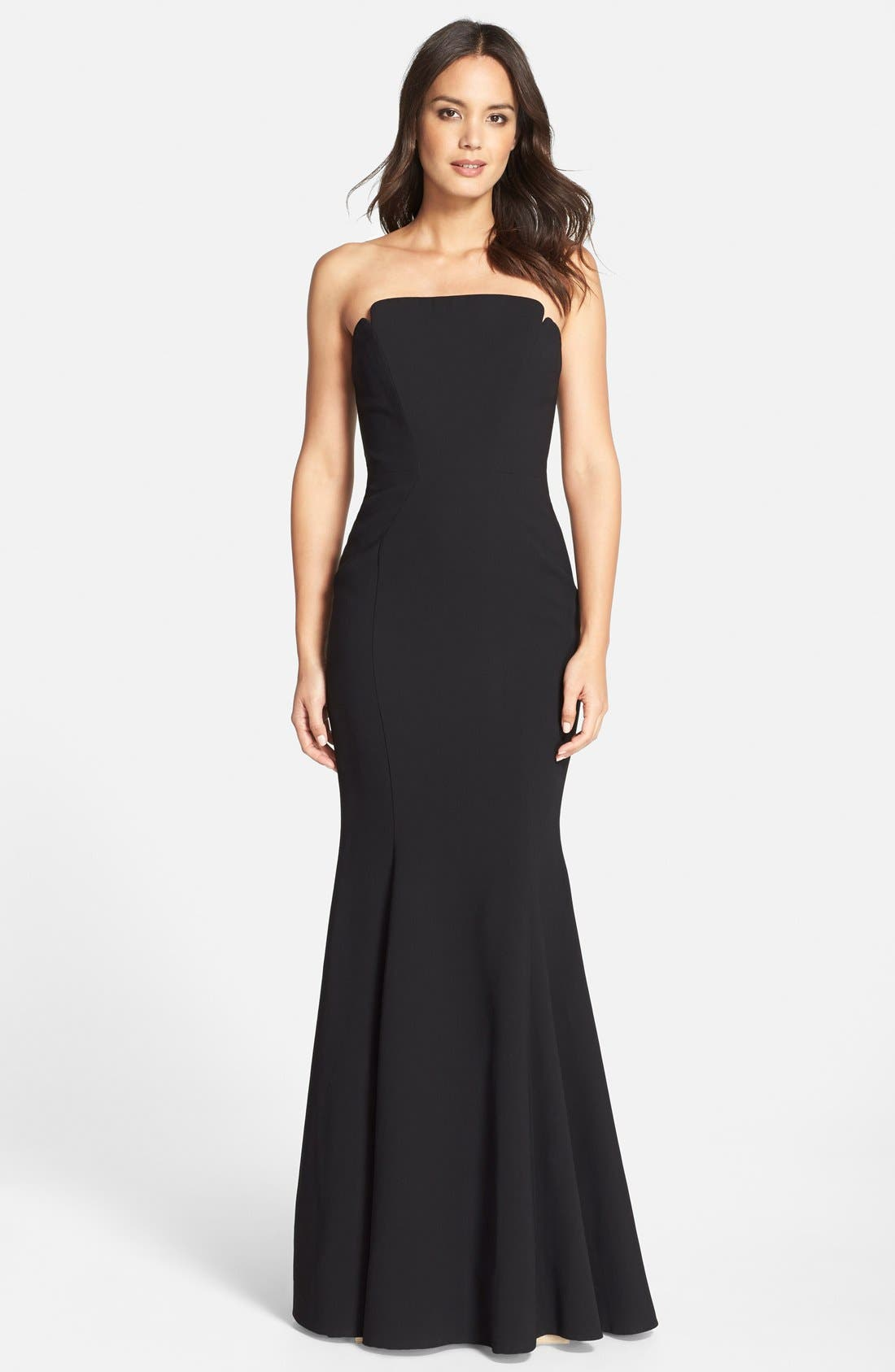 Notched Strapless Gown,                             Main thumbnail 1, color,                             001
