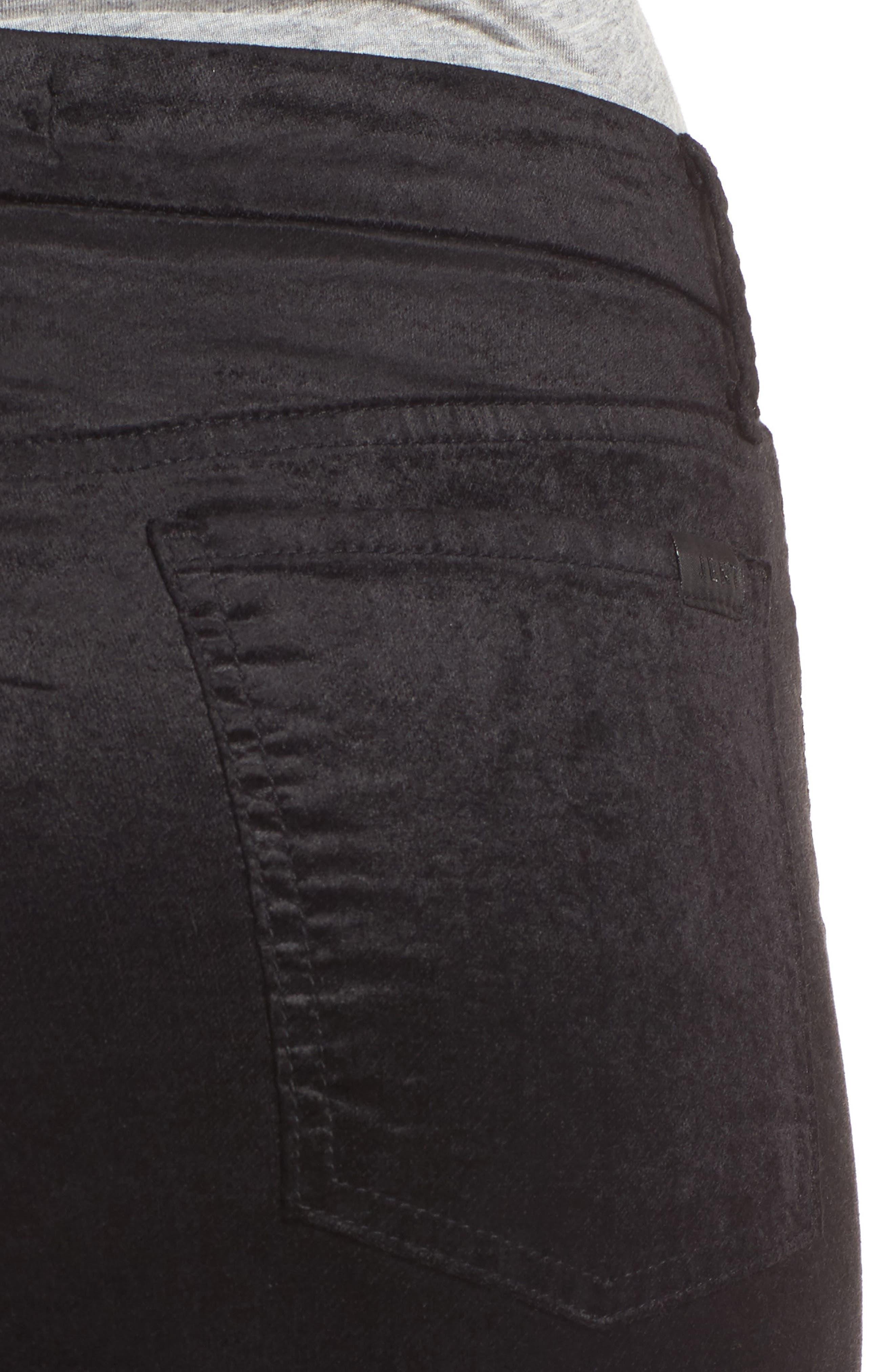 Stretch Velvet Ankle Skinny Jeans,                             Alternate thumbnail 4, color,                             004
