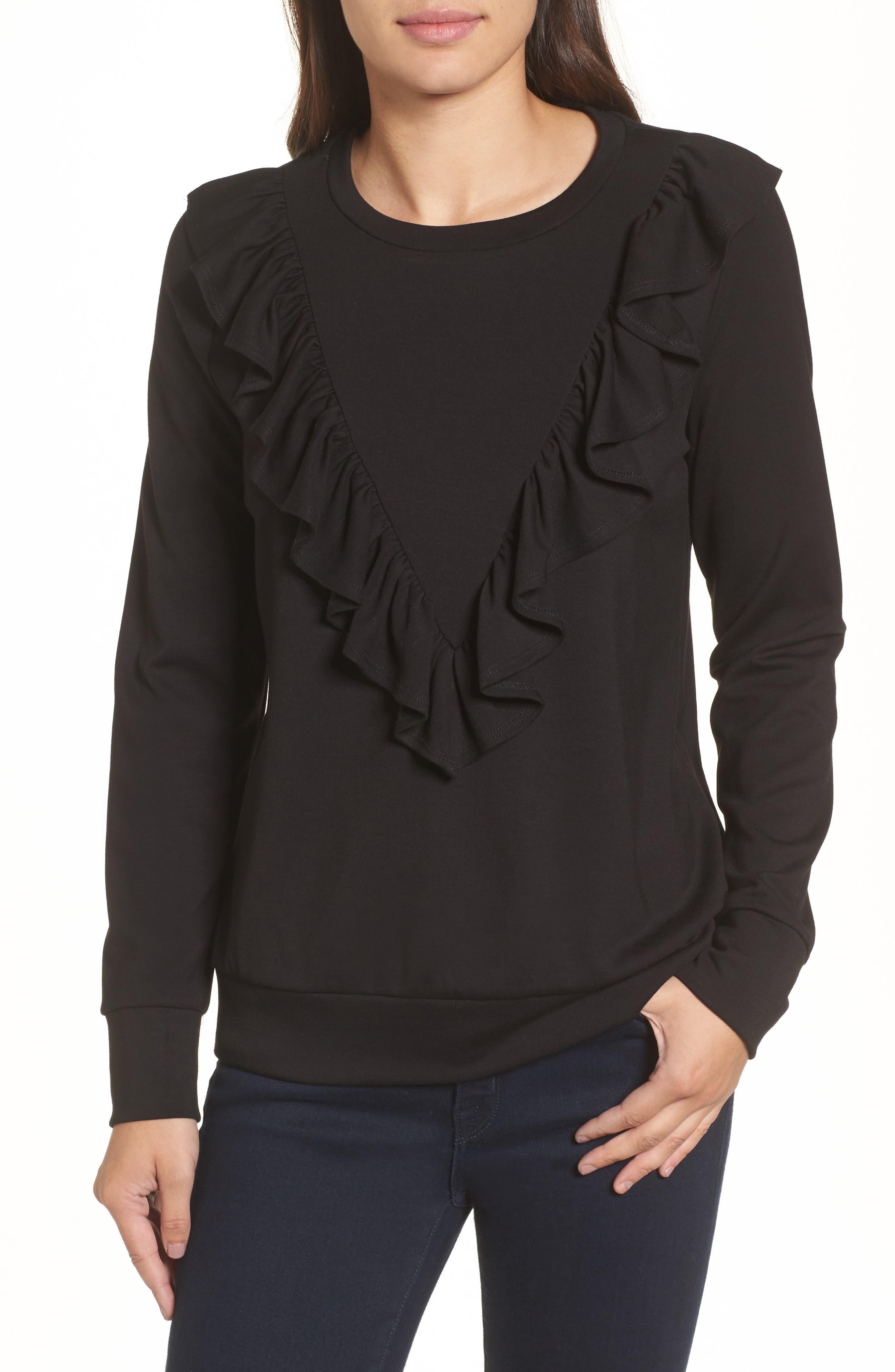 Ruffle Ponte Sweater,                         Main,                         color, 001