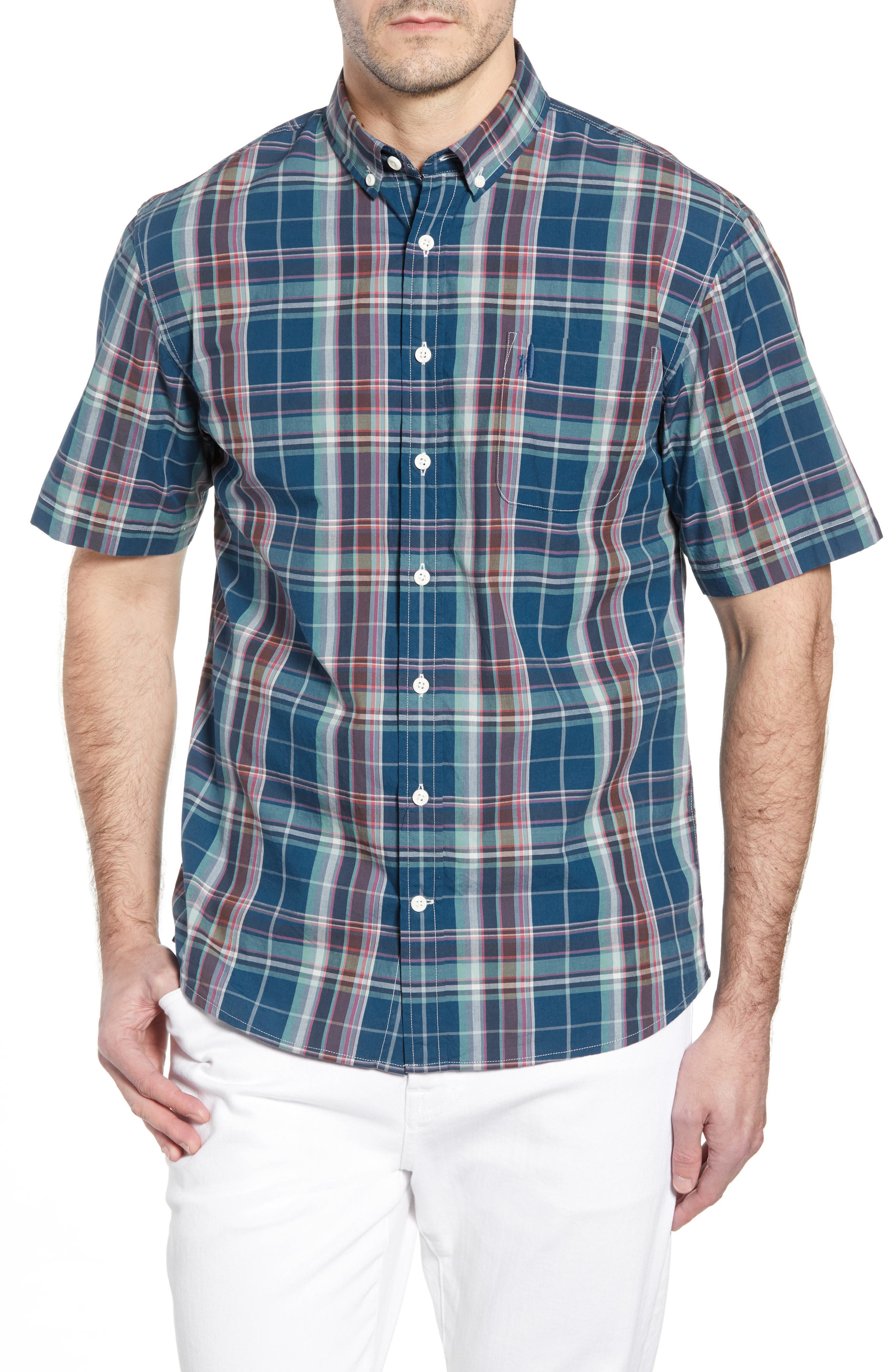Exum Classic Fit Plaid Sport Shirt,                         Main,                         color, LAKE