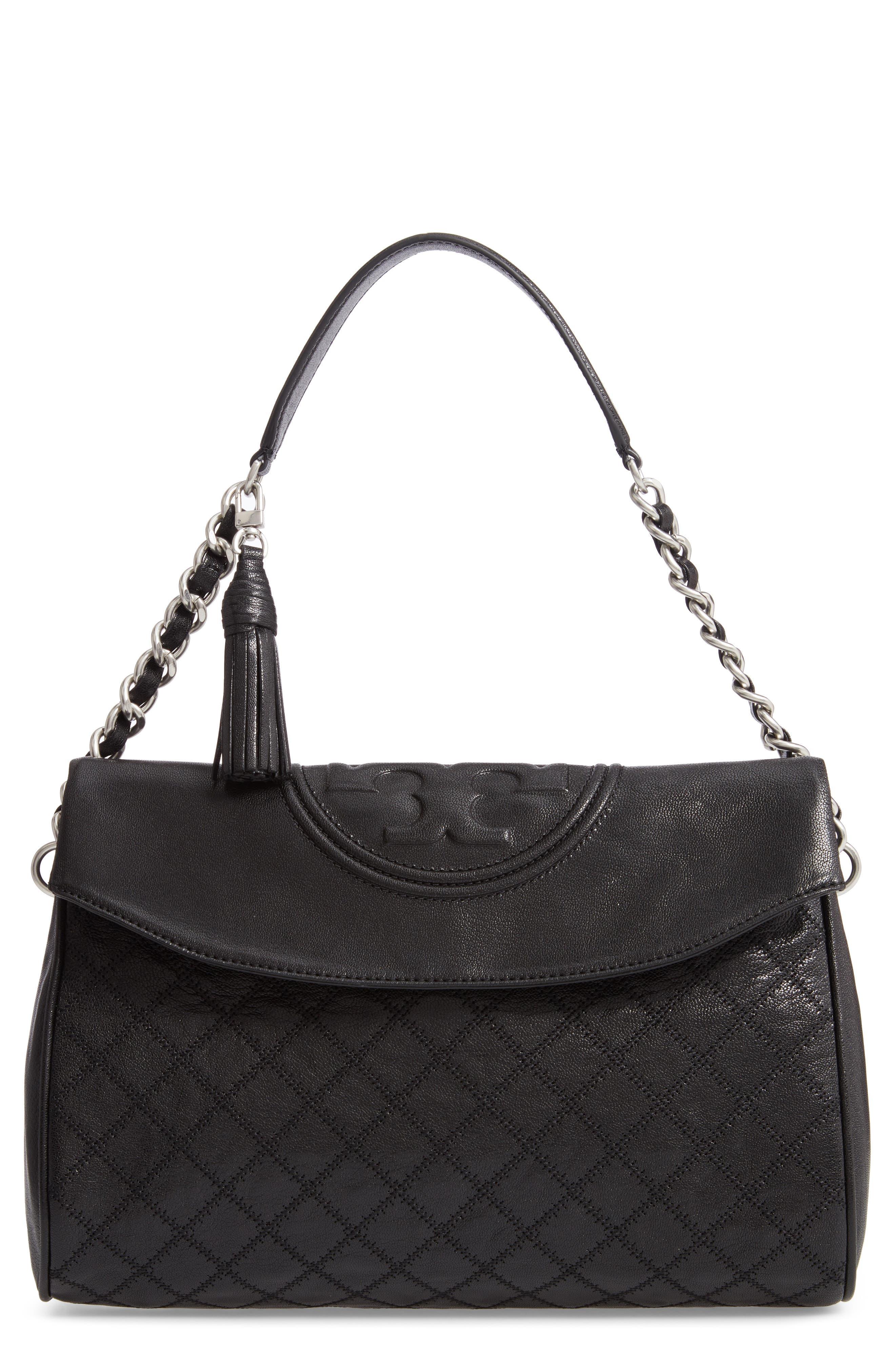Fleming Leather Foldover Hobo,                         Main,                         color, BLACK