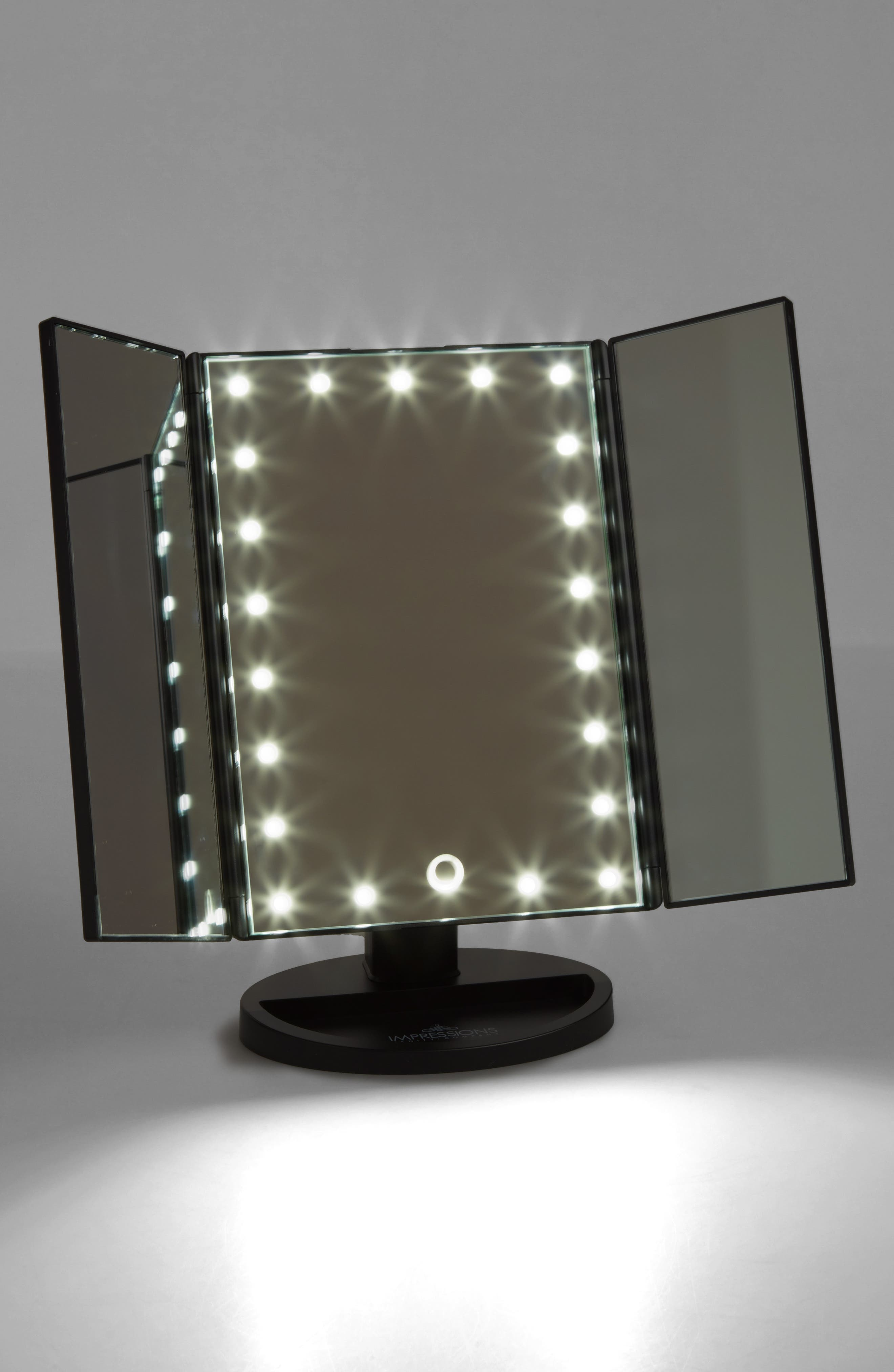 Touch 3.0 LED Trifold Makeup Mirror,                             Alternate thumbnail 4, color,