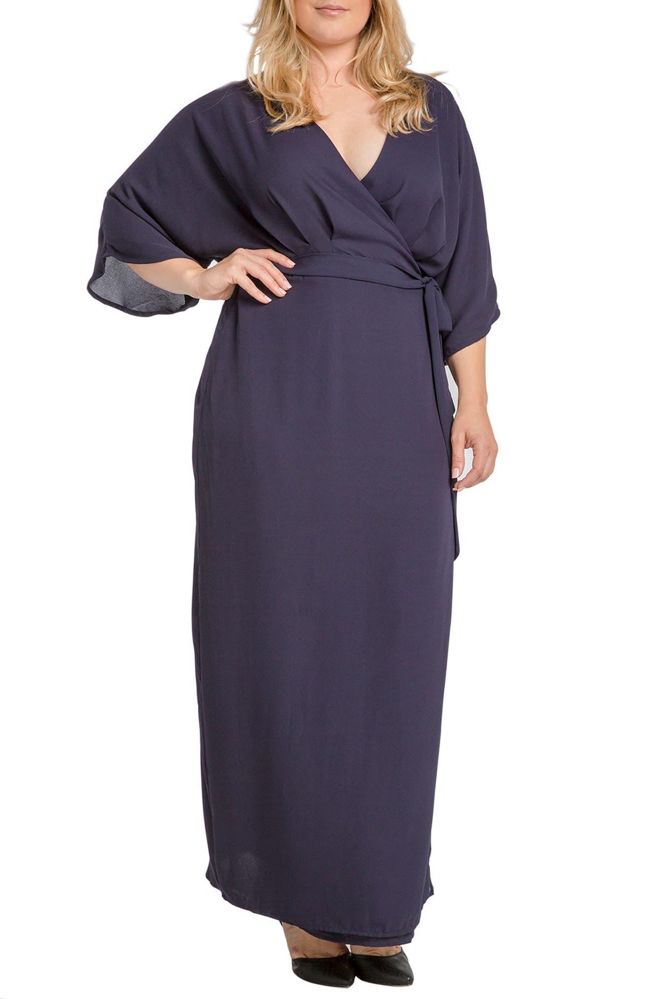 Olivia Wrap Kimono Maxi Dress,                             Main thumbnail 2, color,