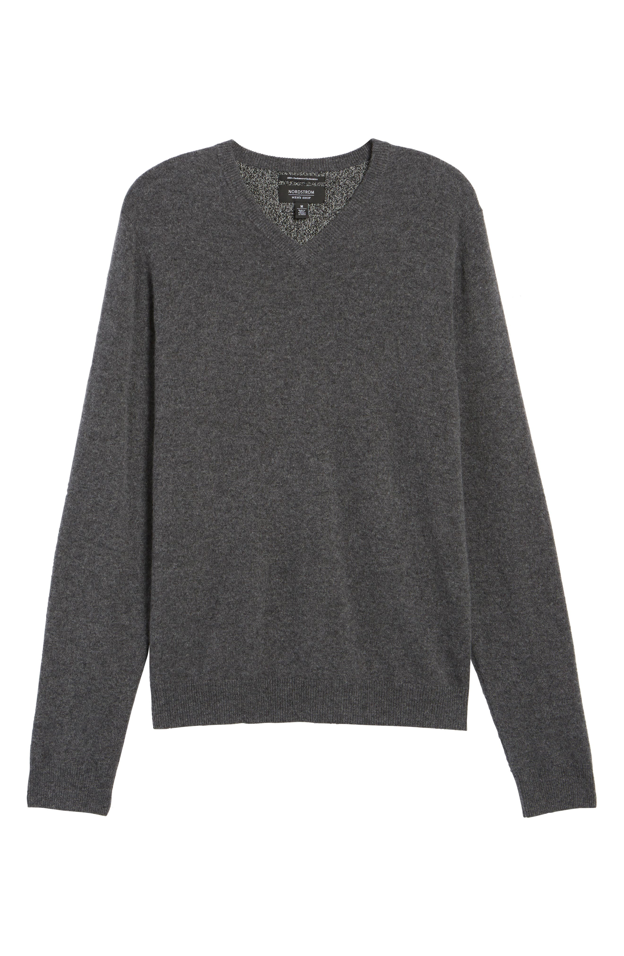 Cashmere V-Neck Sweater,                             Alternate thumbnail 6, color,                             GREY SHADE