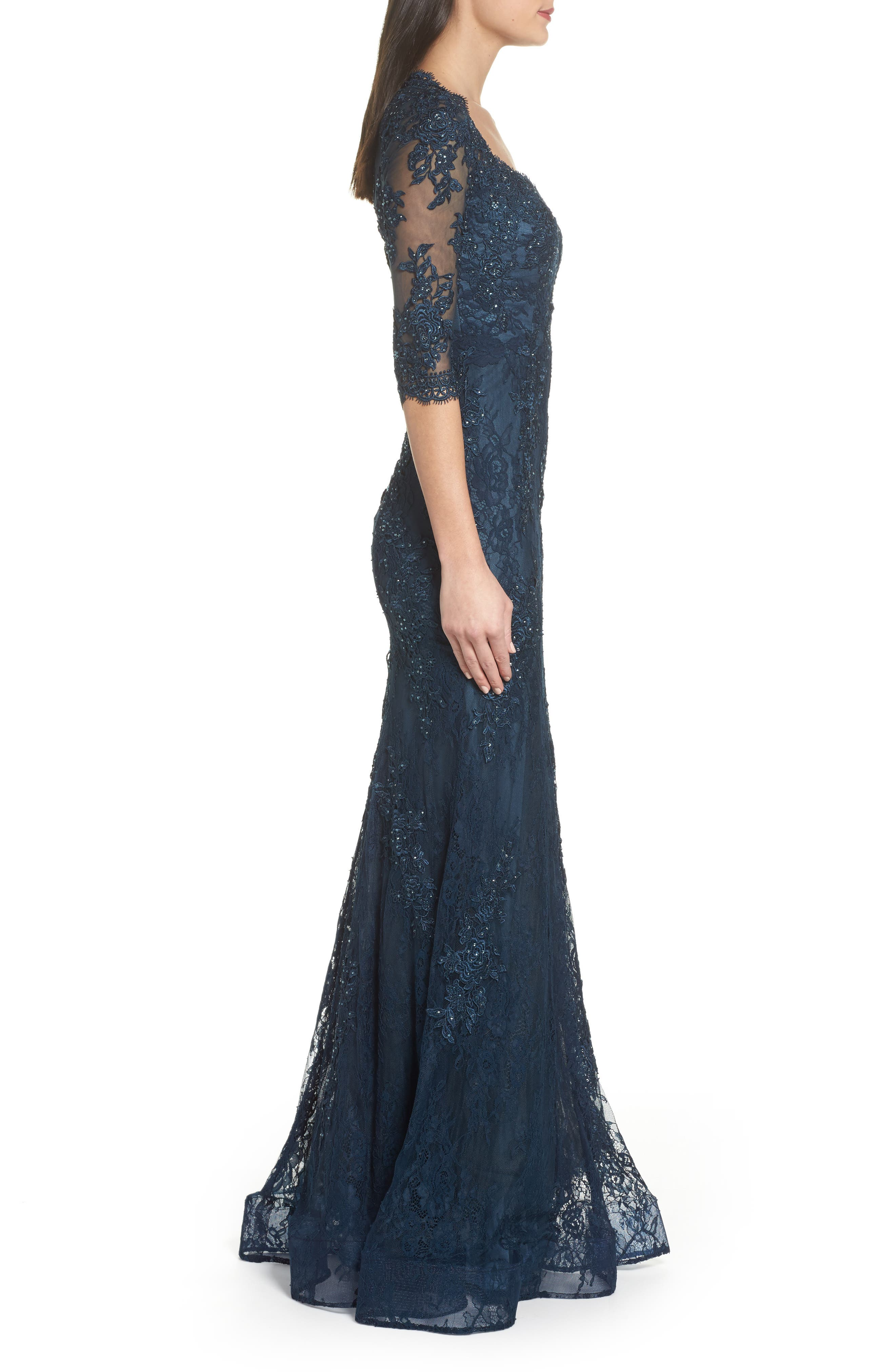 Beaded Lace A-Line Gown,                             Alternate thumbnail 3, color,