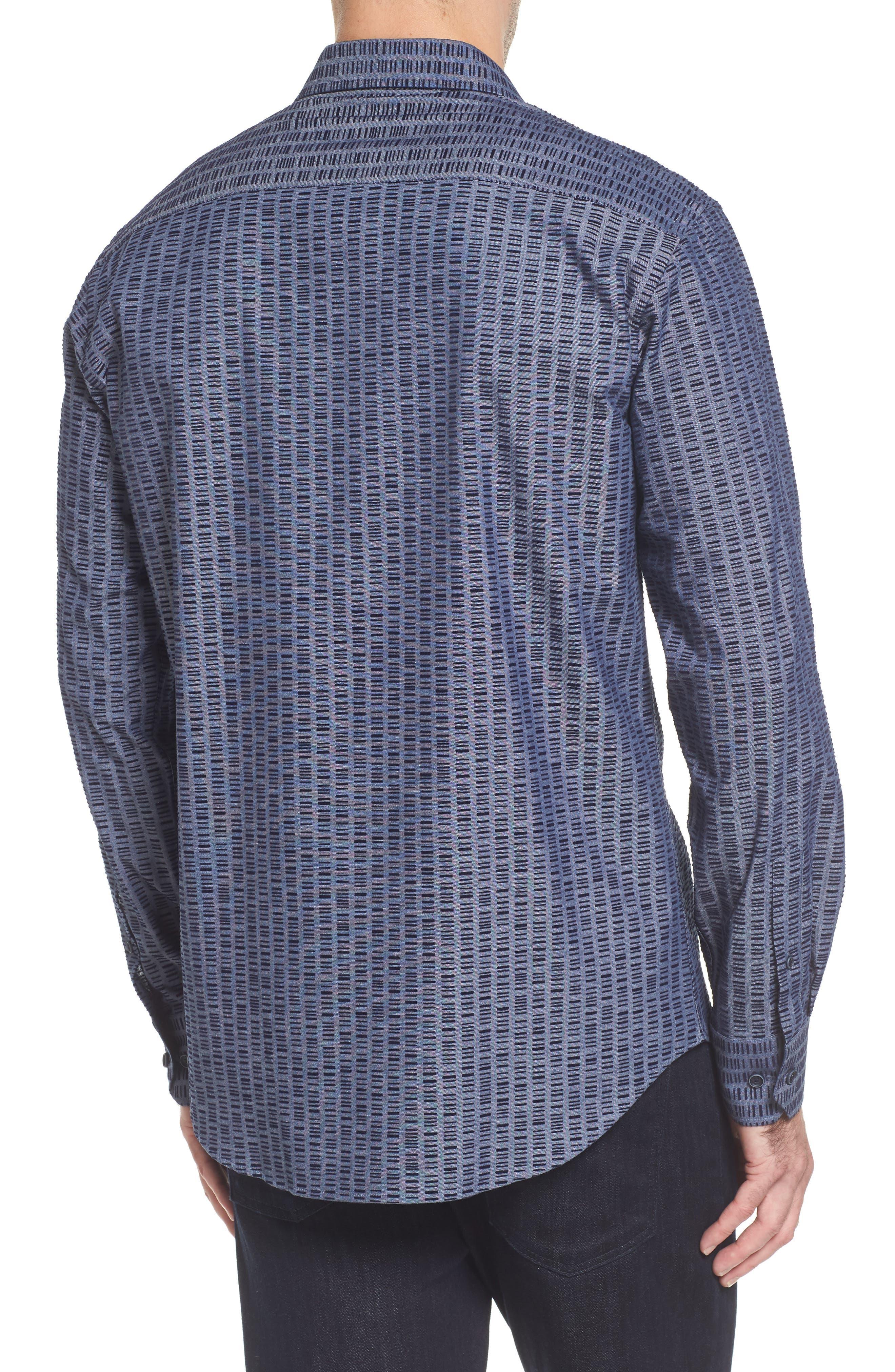 Slim Fit Flock Print Sport Shirt,                             Alternate thumbnail 2, color,