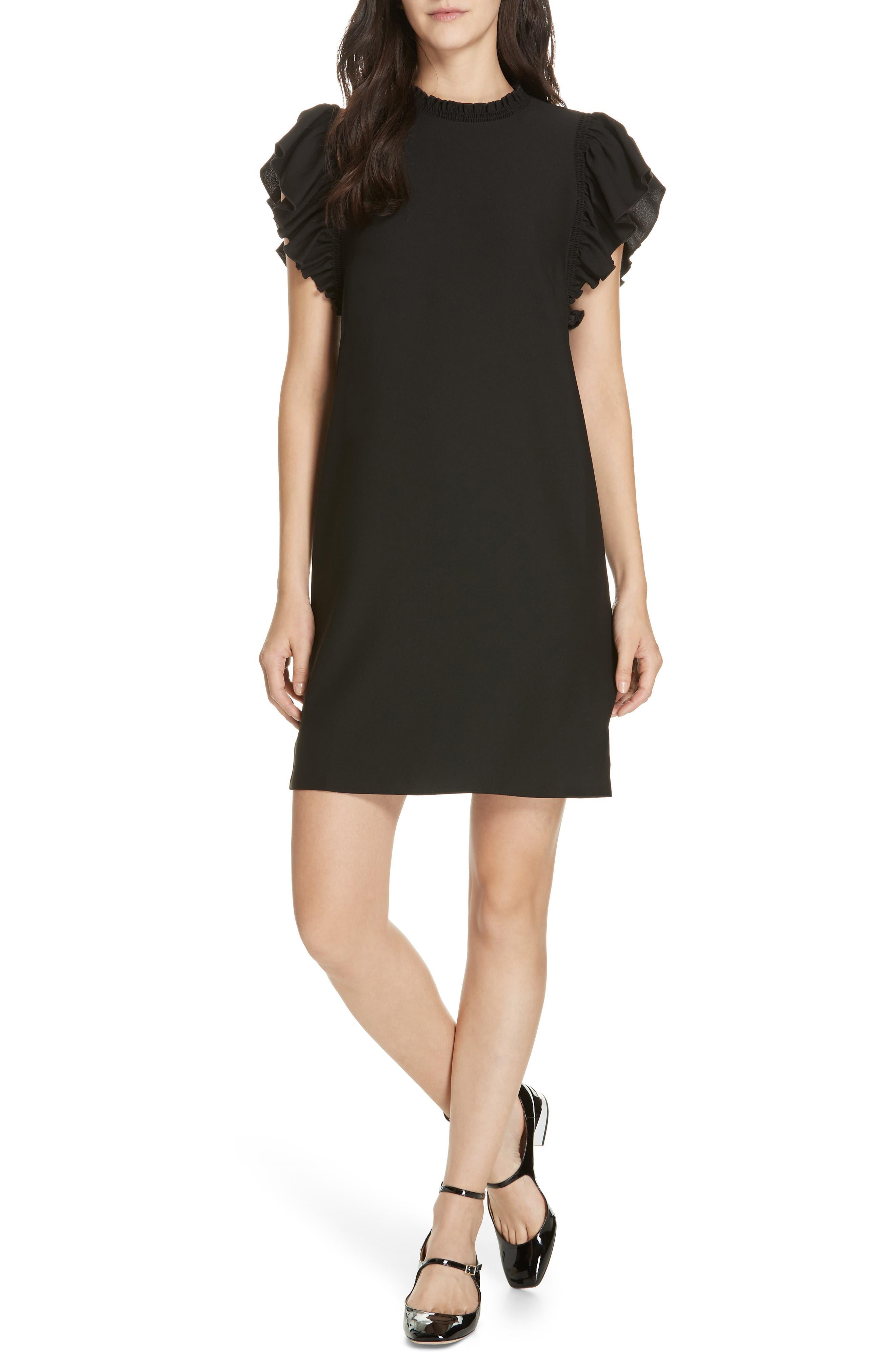 Kate Spade New York Ruffle Crepe Shift Dress