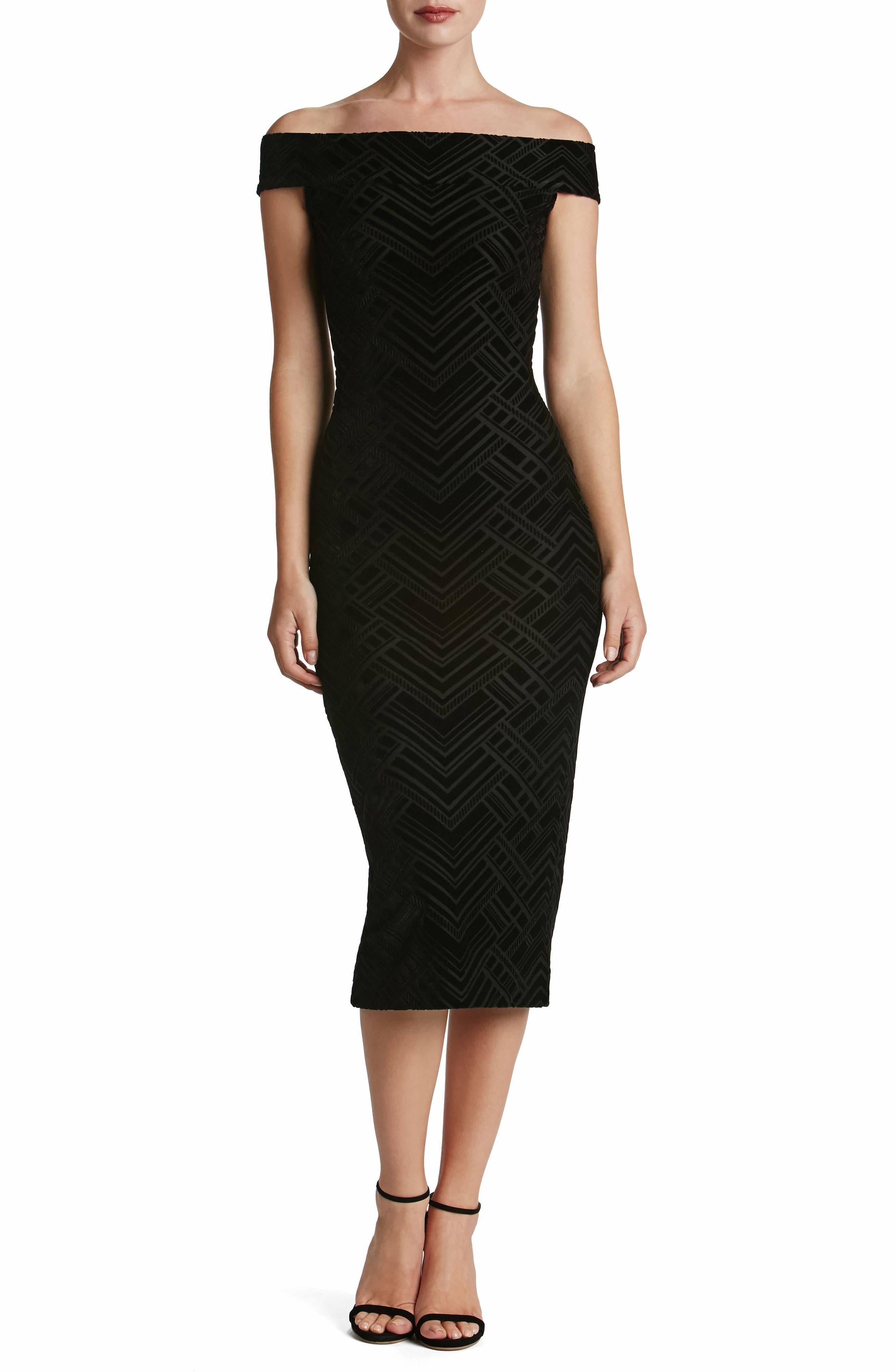 Eden Geo Print Velvet Off the Shoulder Dress,                         Main,                         color, 004