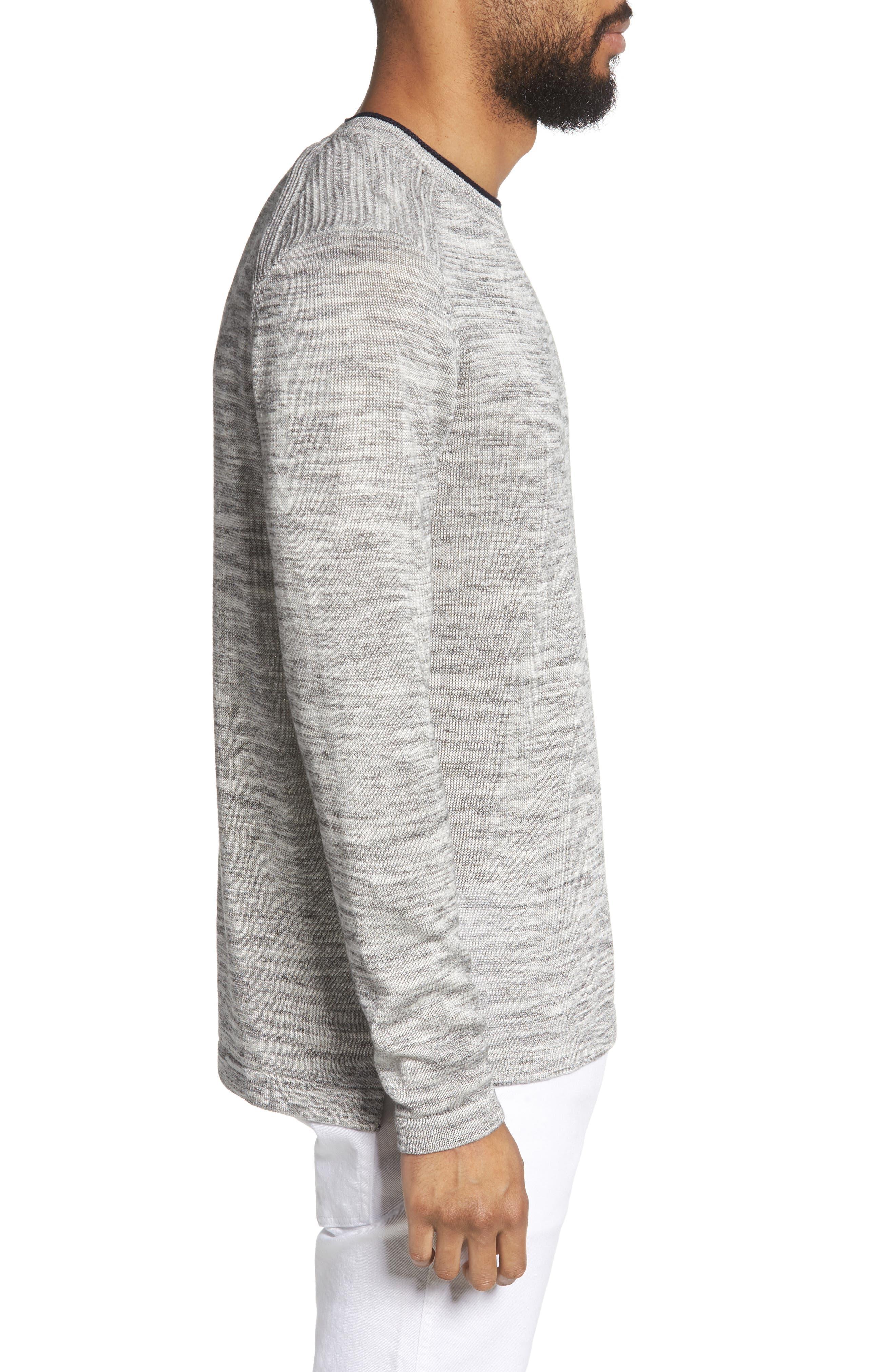 Inzone Crewneck Linen Blend Sweater,                             Alternate thumbnail 3, color,                             050