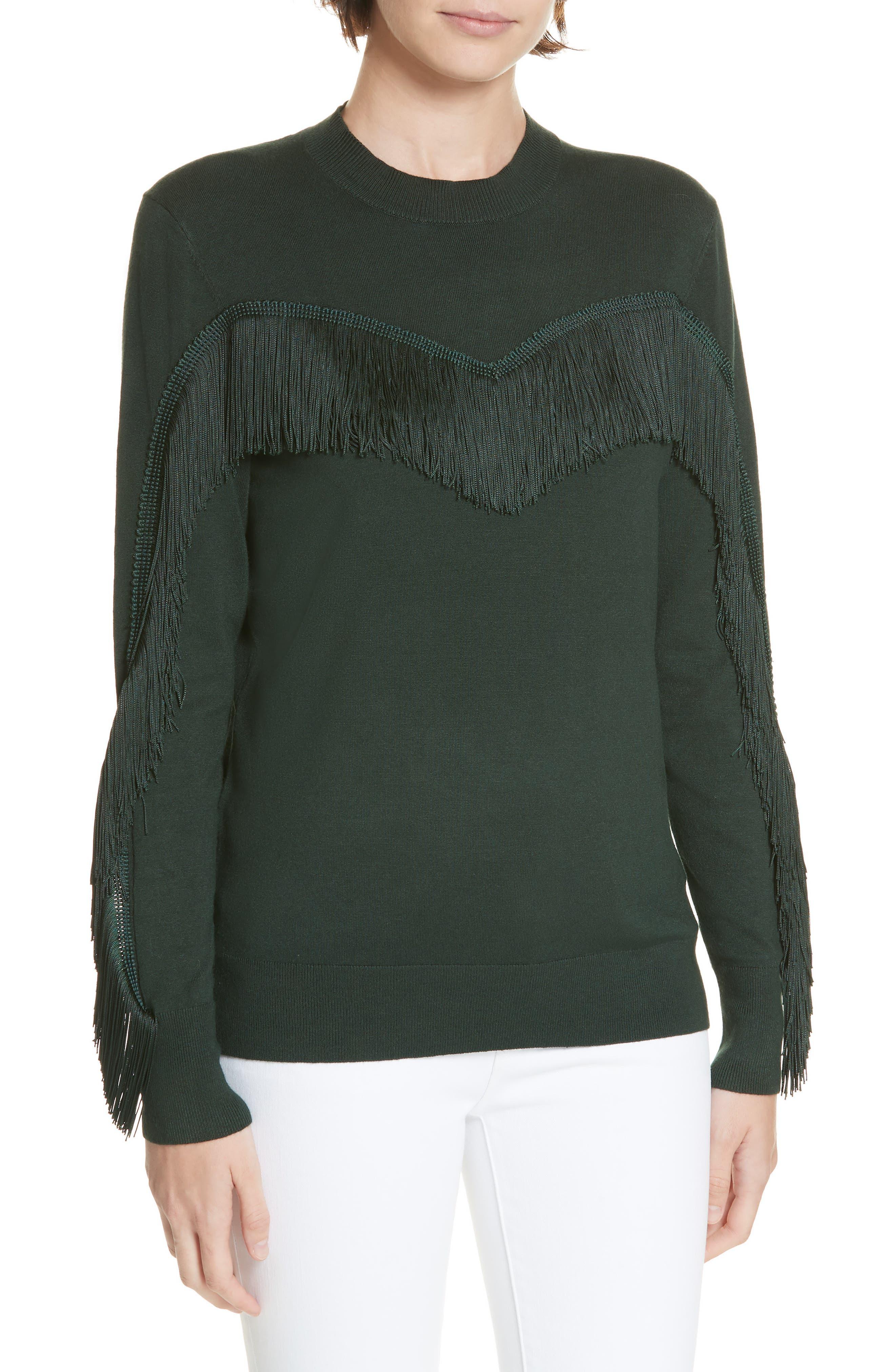 Aniebal Fringe Trim Sweater,                             Main thumbnail 1, color,                             DARK GREEN