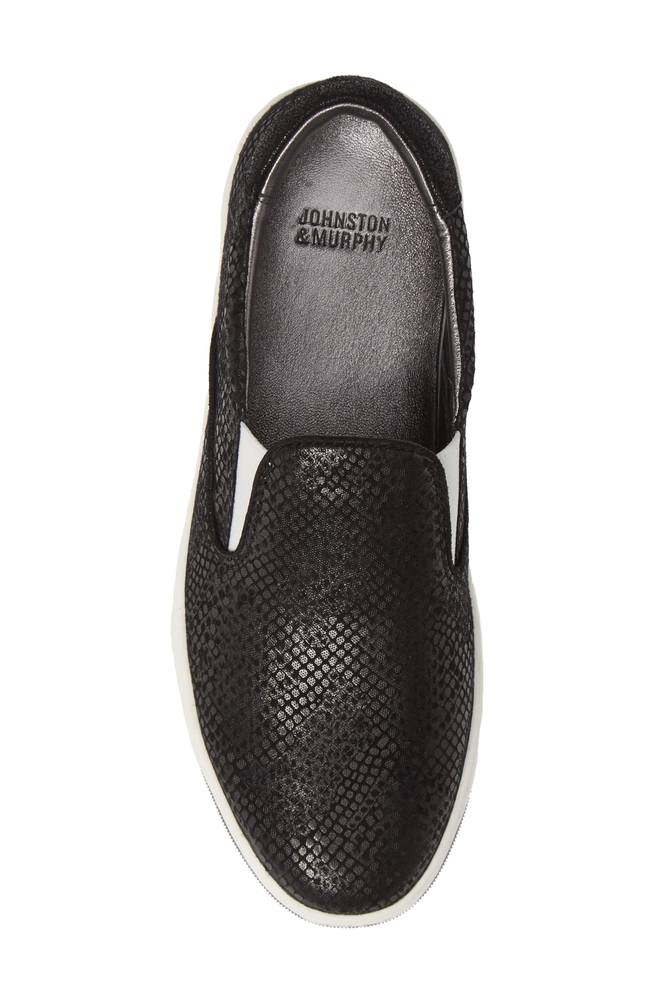 Elaine Slip-On Sneaker,                             Alternate thumbnail 5, color,                             BLACK SNAKE PRINT SUEDE