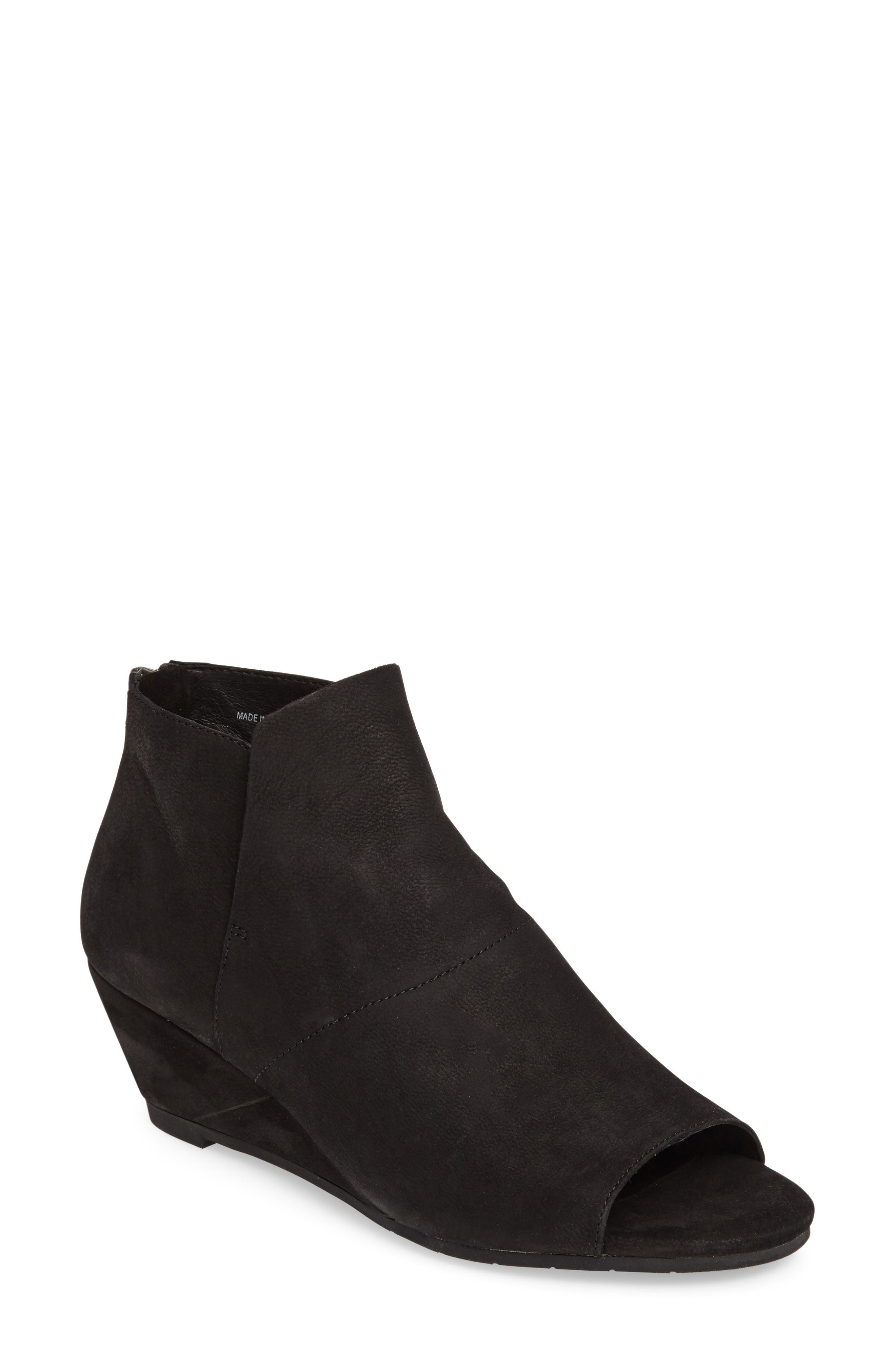 Duffy Open Toe Wedge Bootie,                             Main thumbnail 1, color,                             001