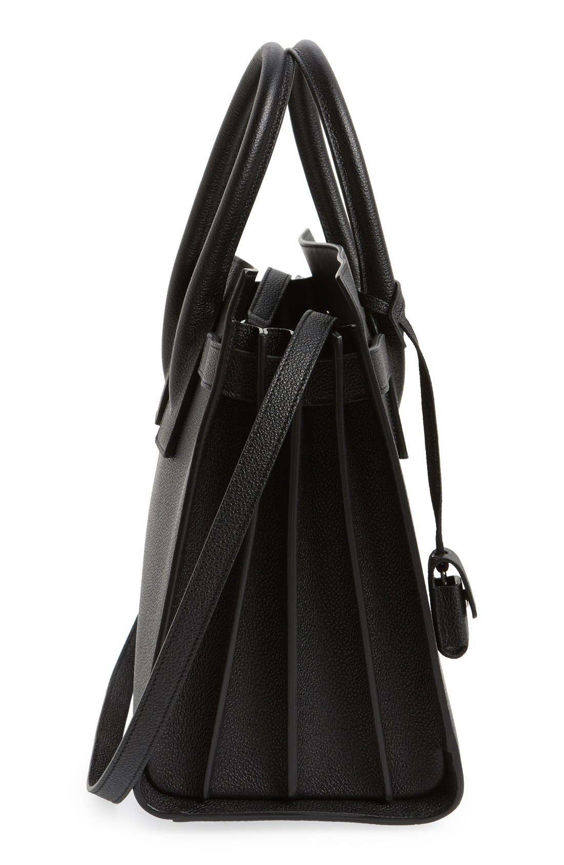 'Small Sac de Jour' Leather Tote,                             Alternate thumbnail 6, color,                             NOIR