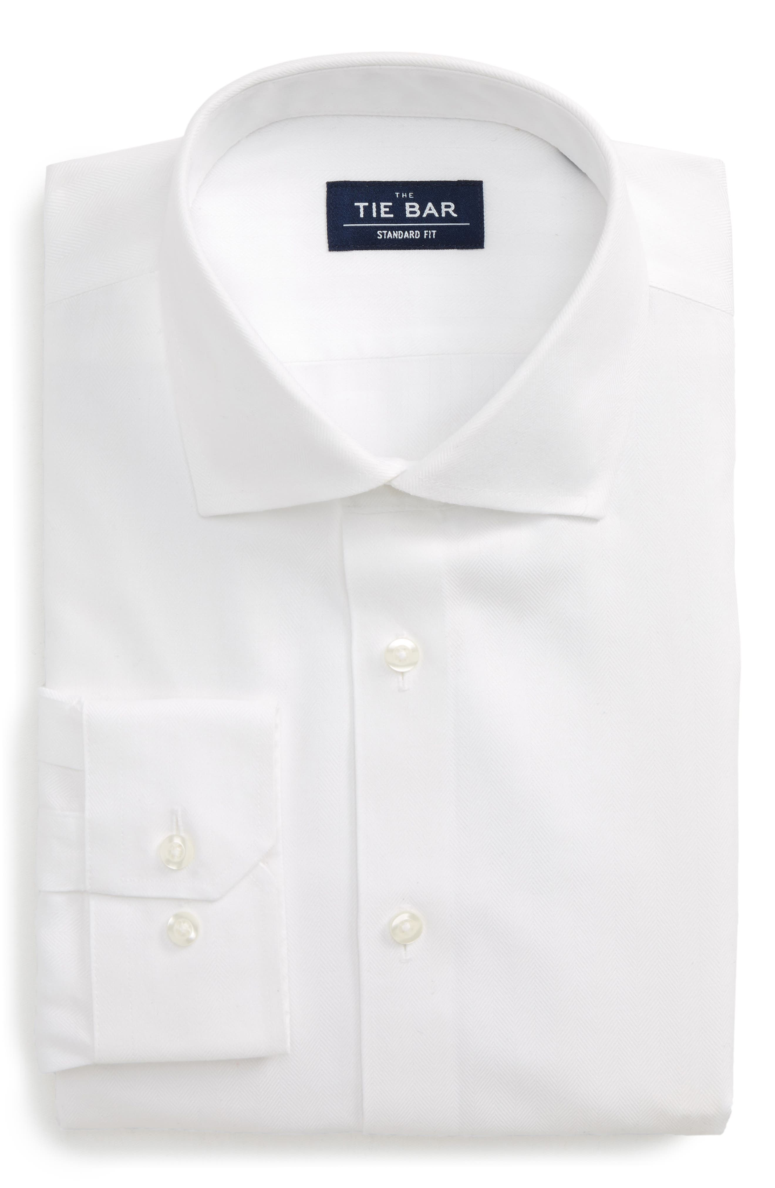 THE TIE BAR Standard Fit Herringbone Dress Shirt, Main, color, 100