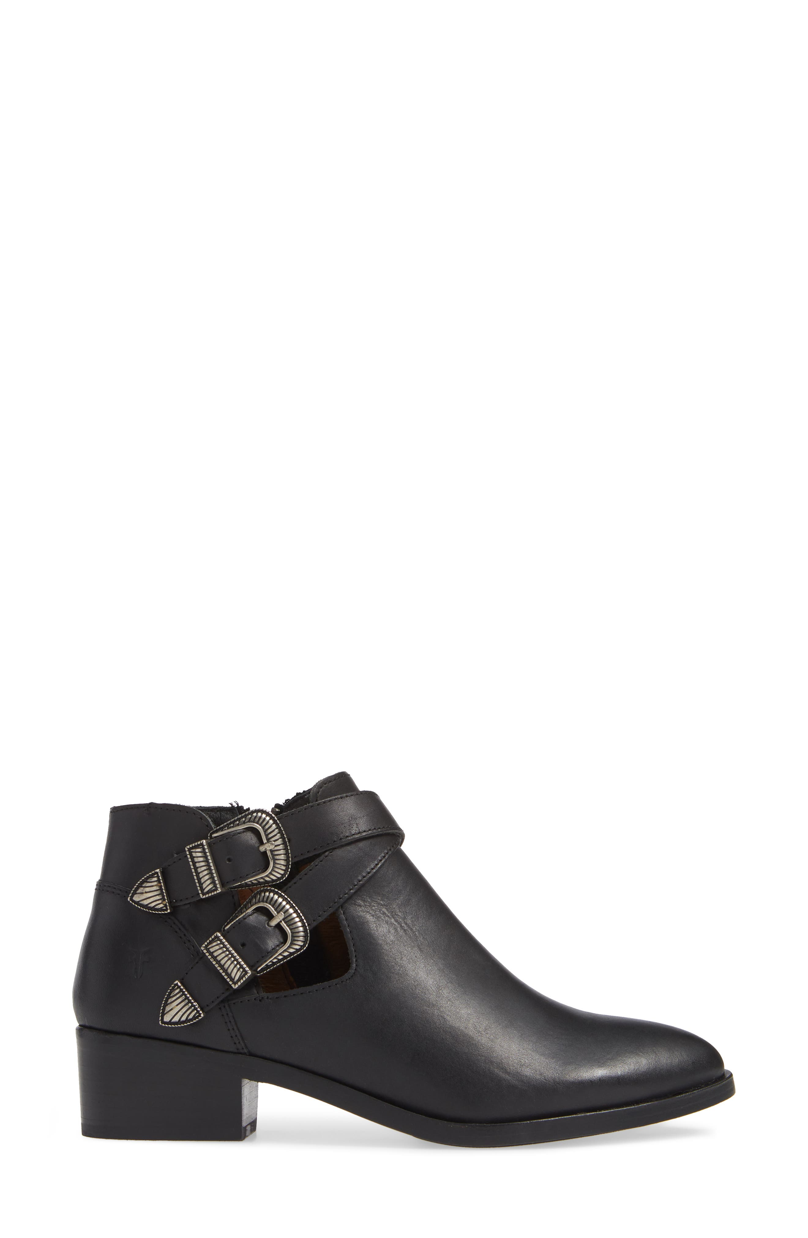 Ray Western Bootie,                             Alternate thumbnail 3, color,                             BLACK LEATHER
