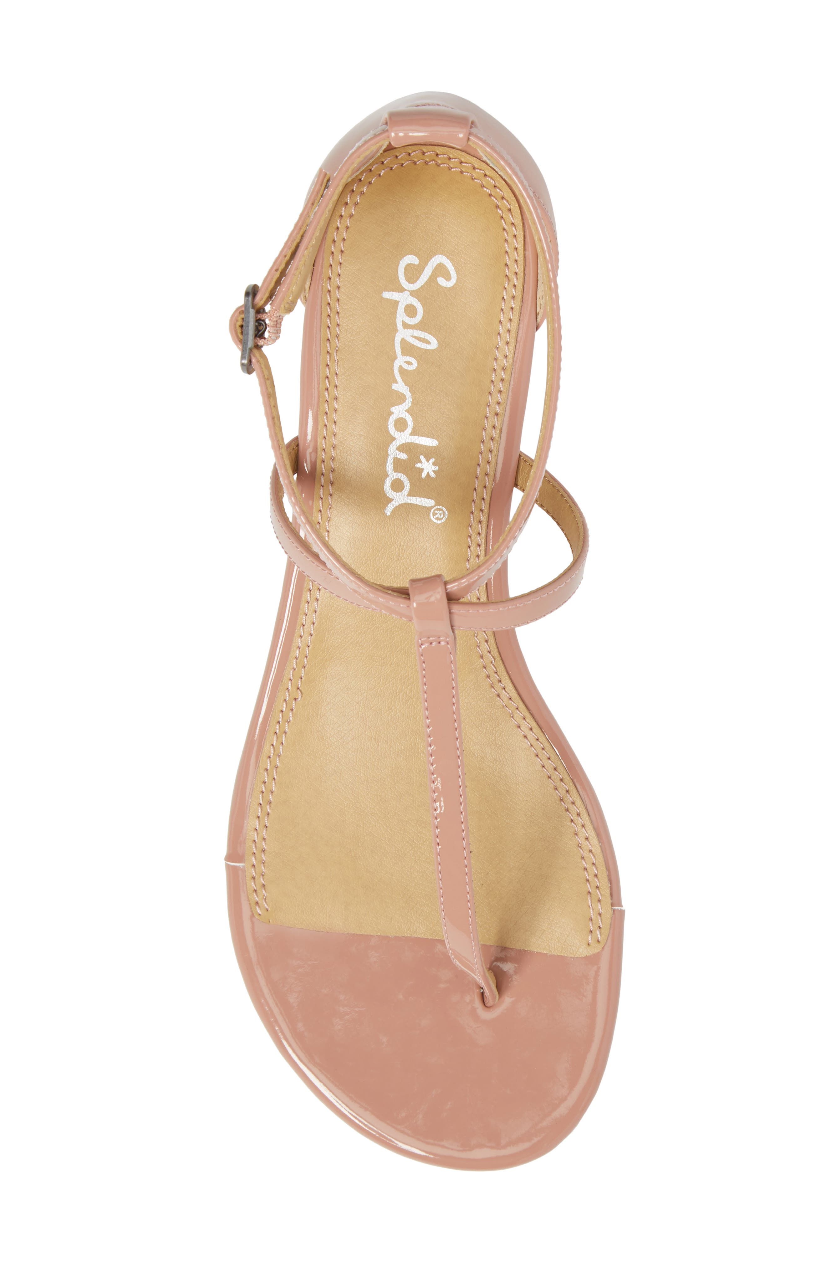 Bryce T-Strap Wedge Sandal,                             Alternate thumbnail 5, color,                             DARK BLUSH PATENT