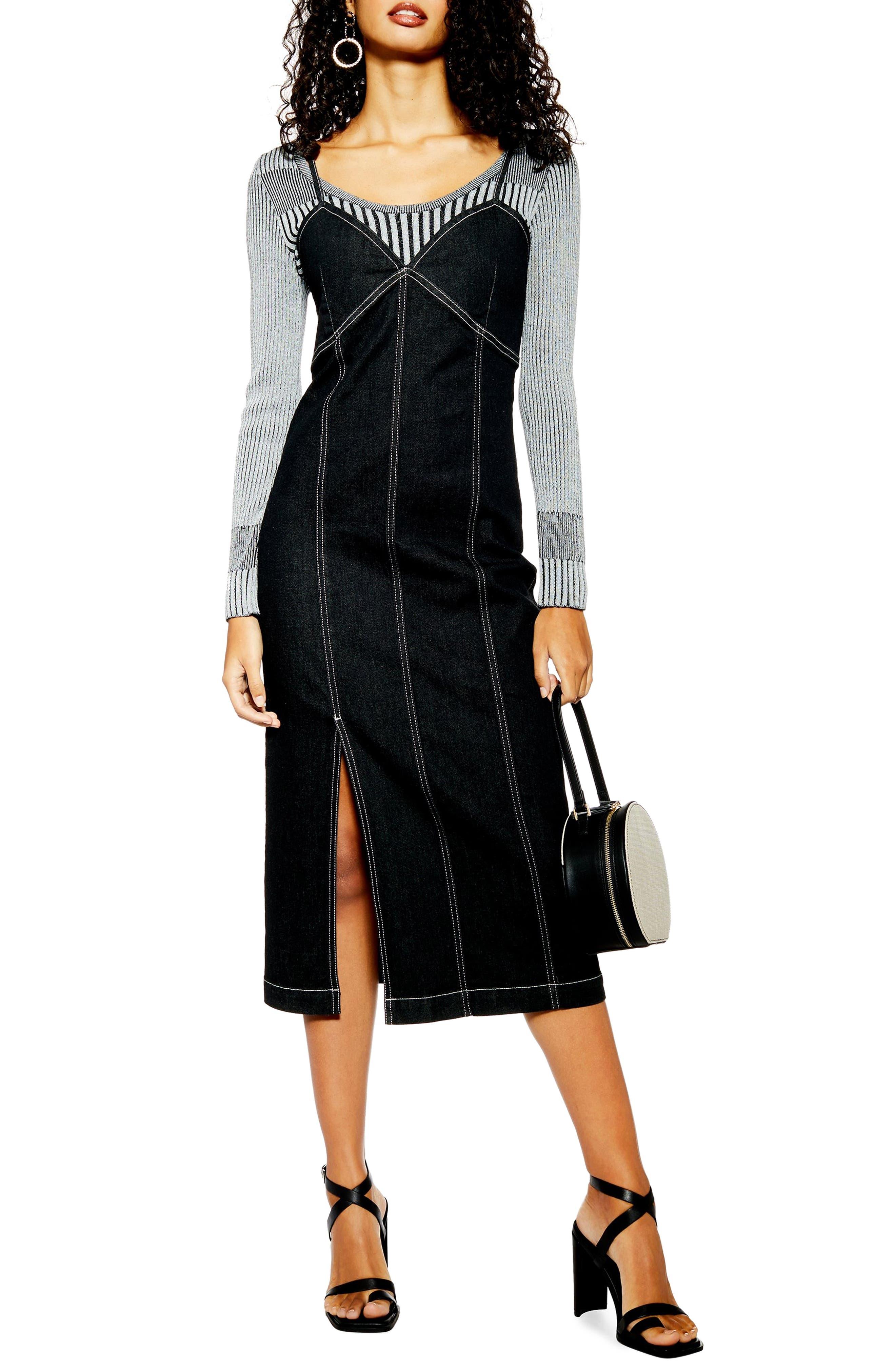 Topshop Stretch Denim Midi Dress, US (fits like 14) - Black