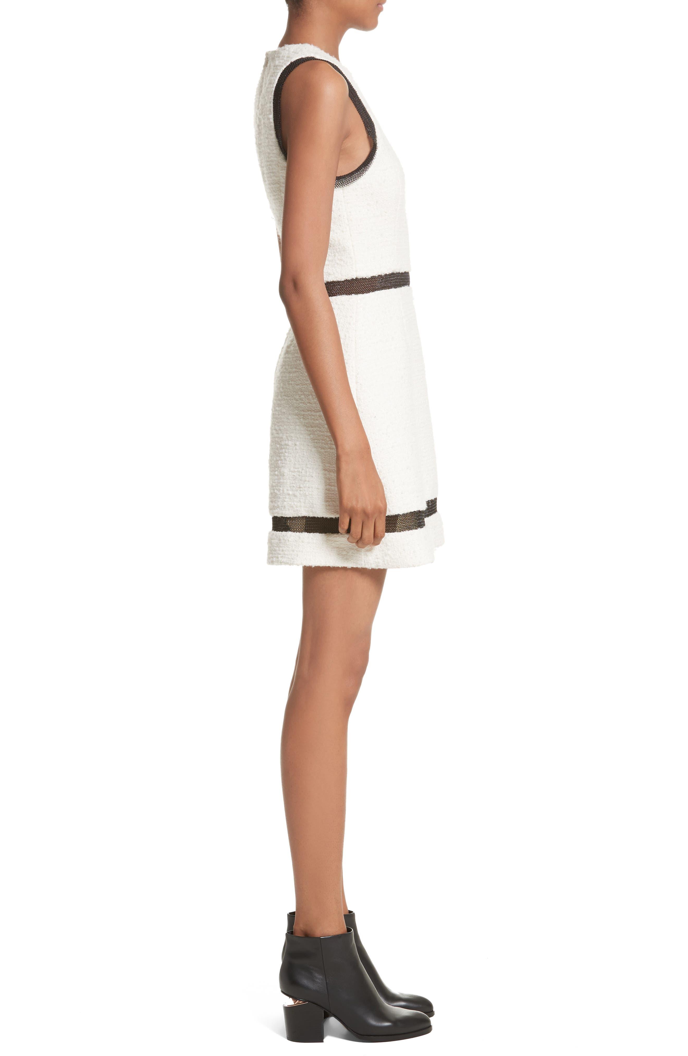 Chain Mail Trim Tweed Dress,                             Alternate thumbnail 3, color,                             900