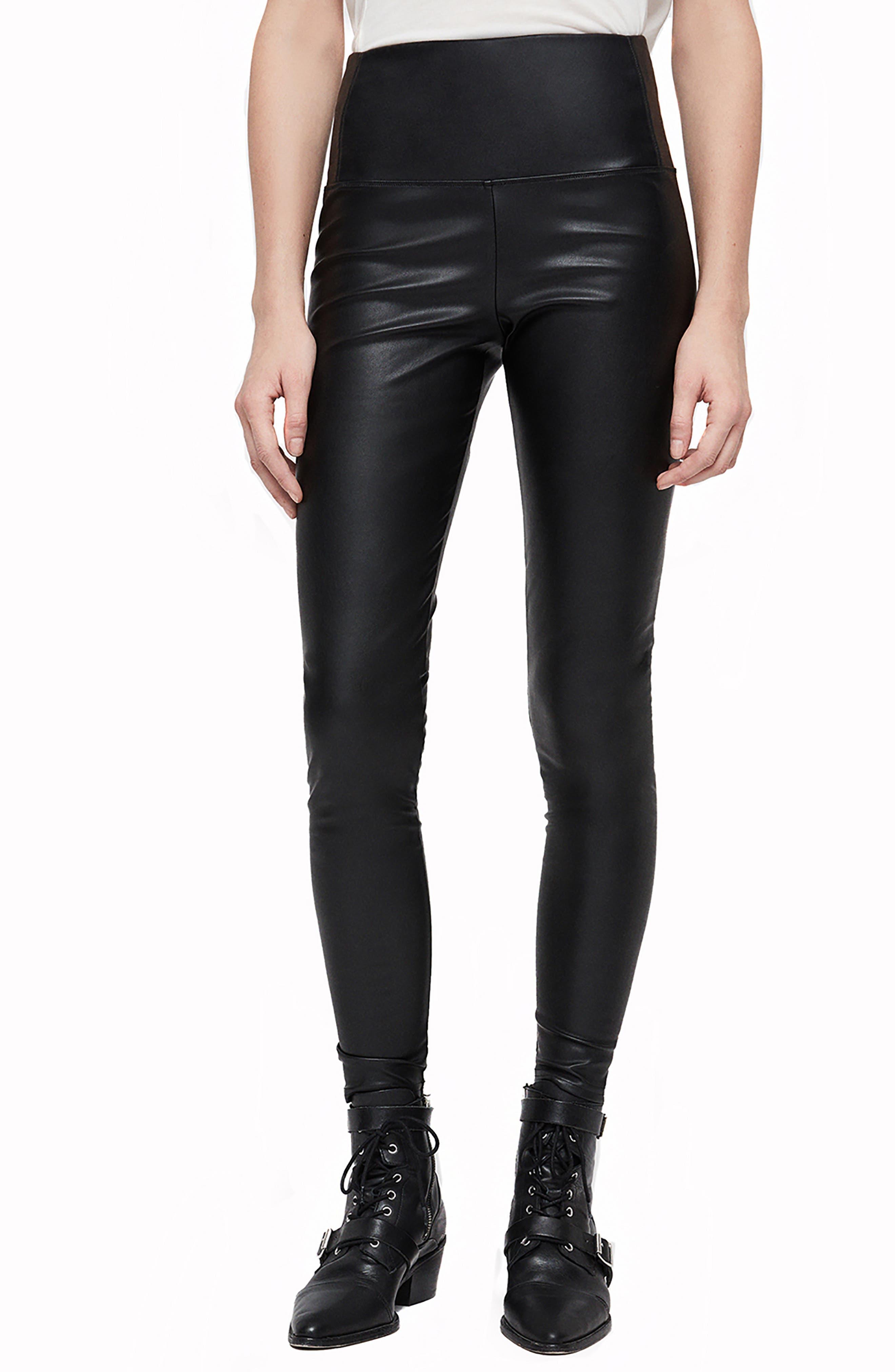 Cora Faux Leather Leggings,                         Main,                         color, BLACK