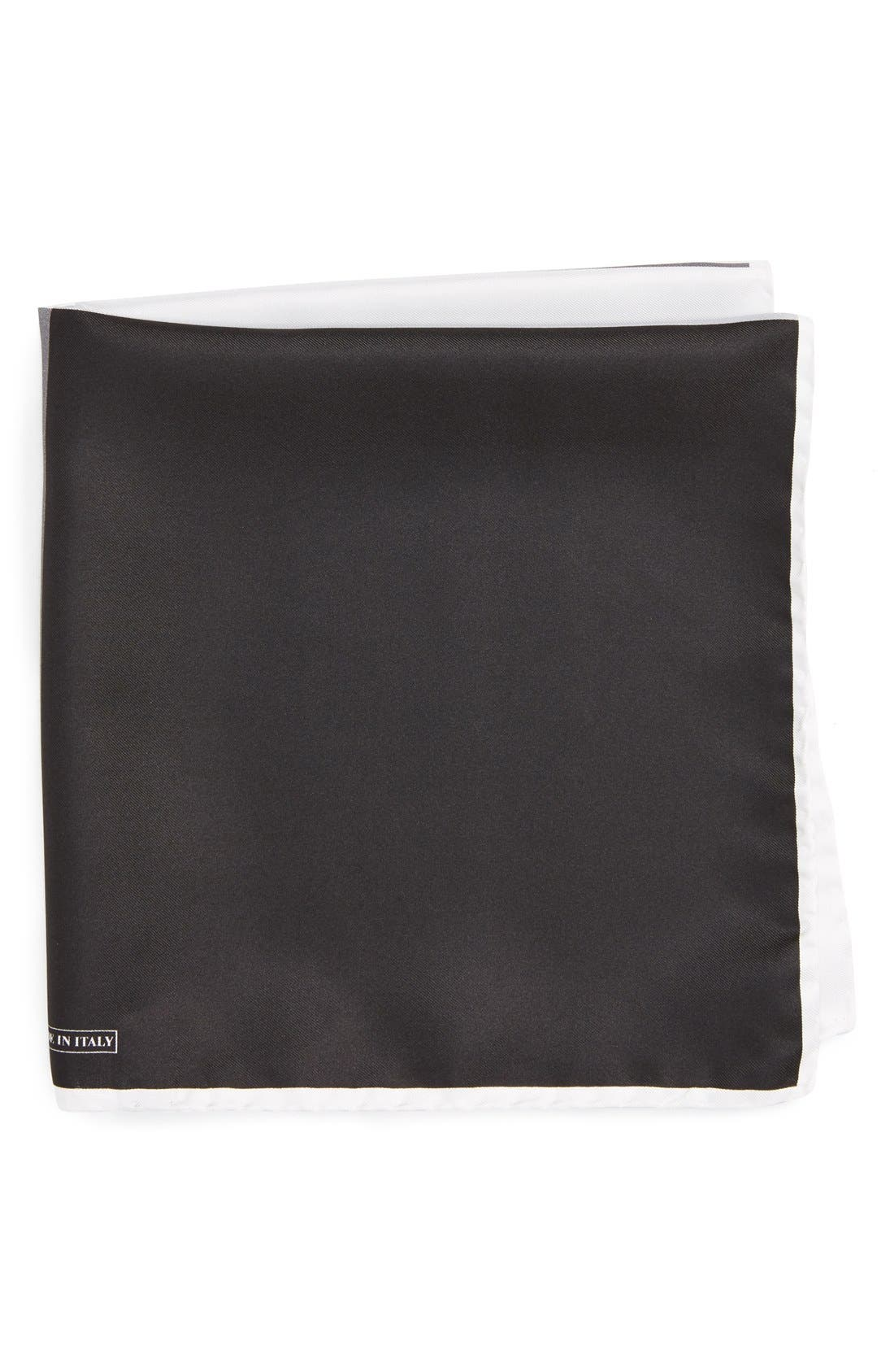 Silk Pocket Square,                         Main,                         color, BLACK