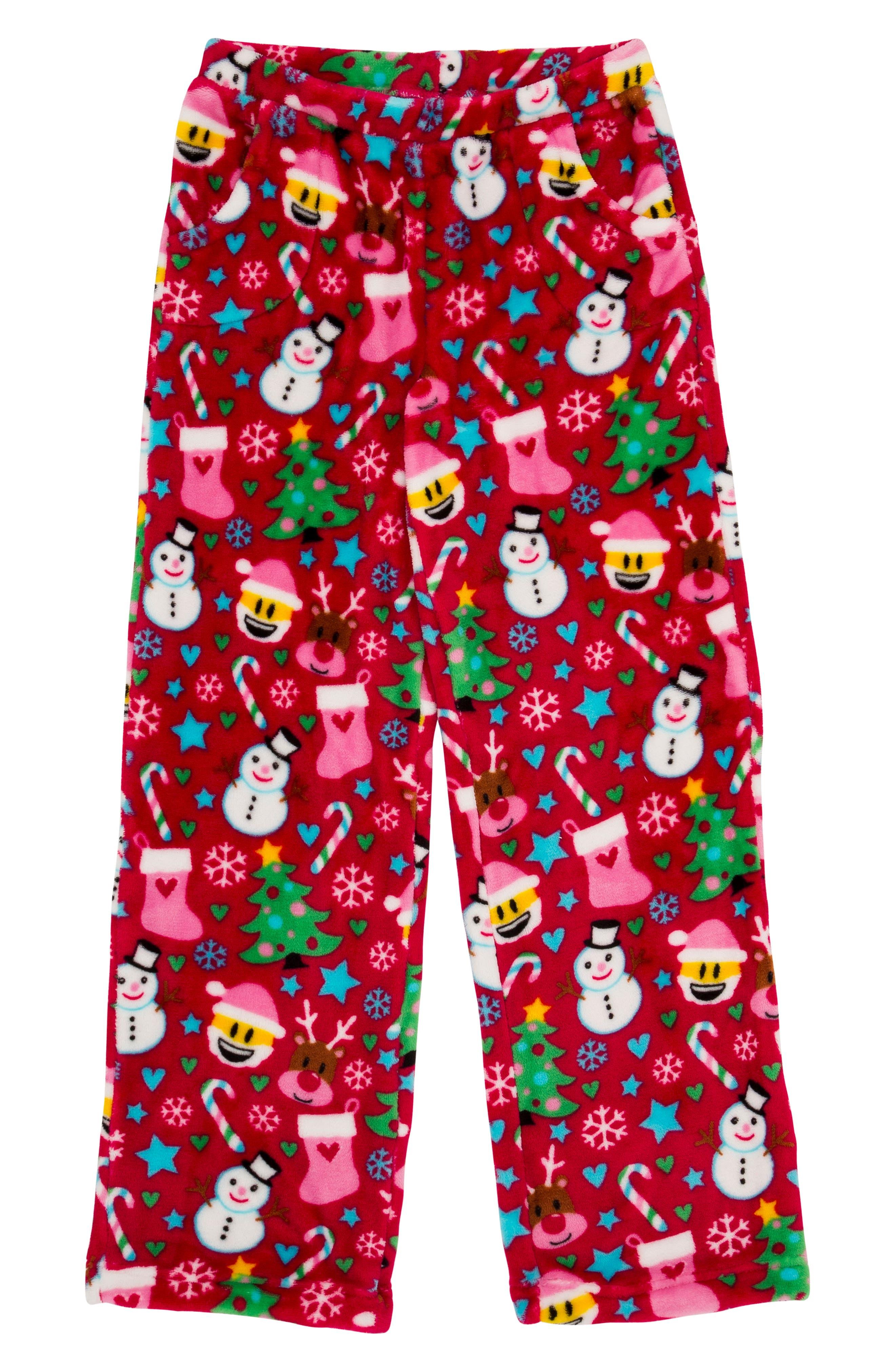 Girls Candy Pink Holiday Fleece Pajama Pants