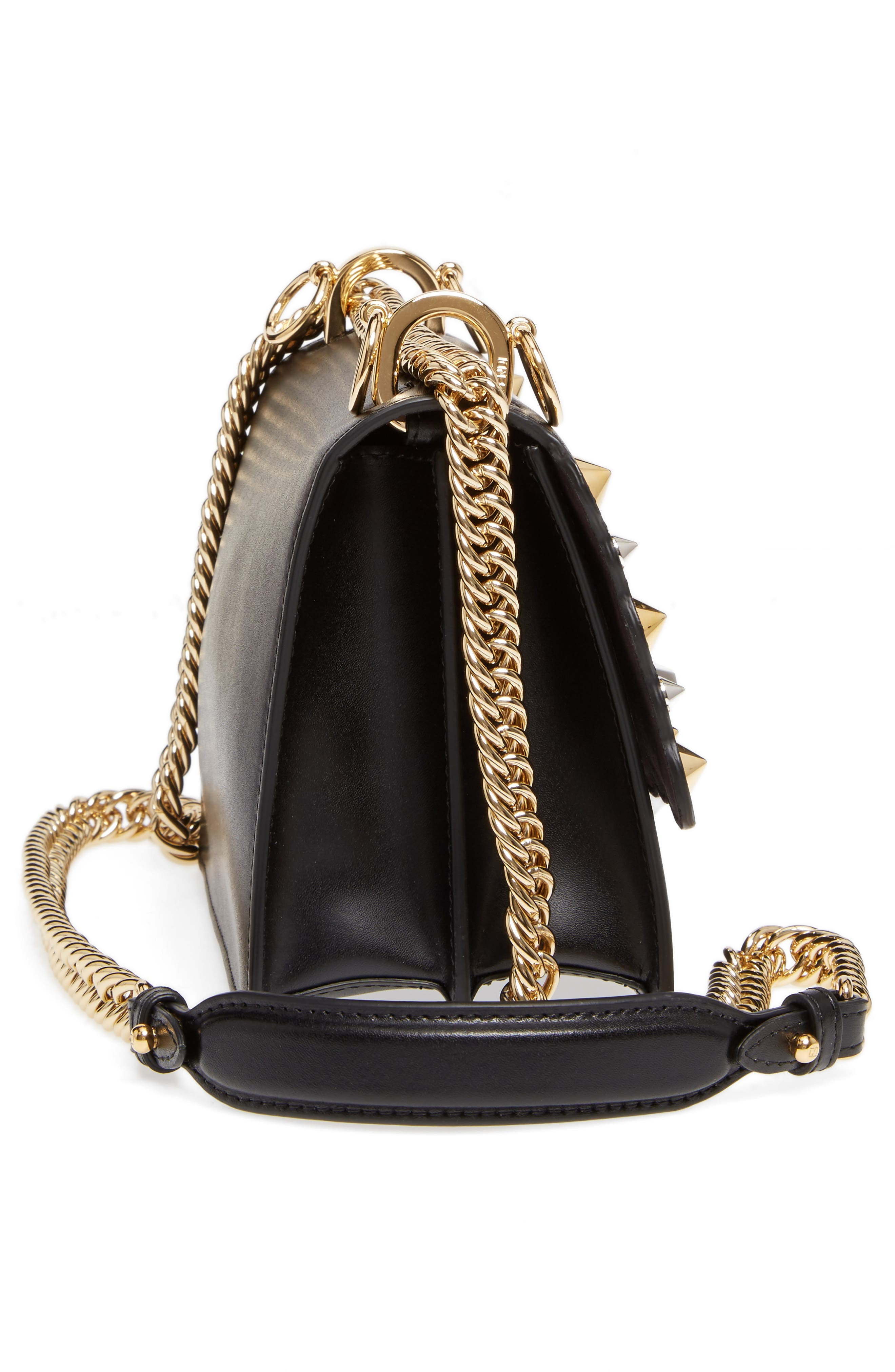 Small Kan I Scallop Leather Shoulder Bag,                             Alternate thumbnail 5, color,                             NERO/ ORO SOFT
