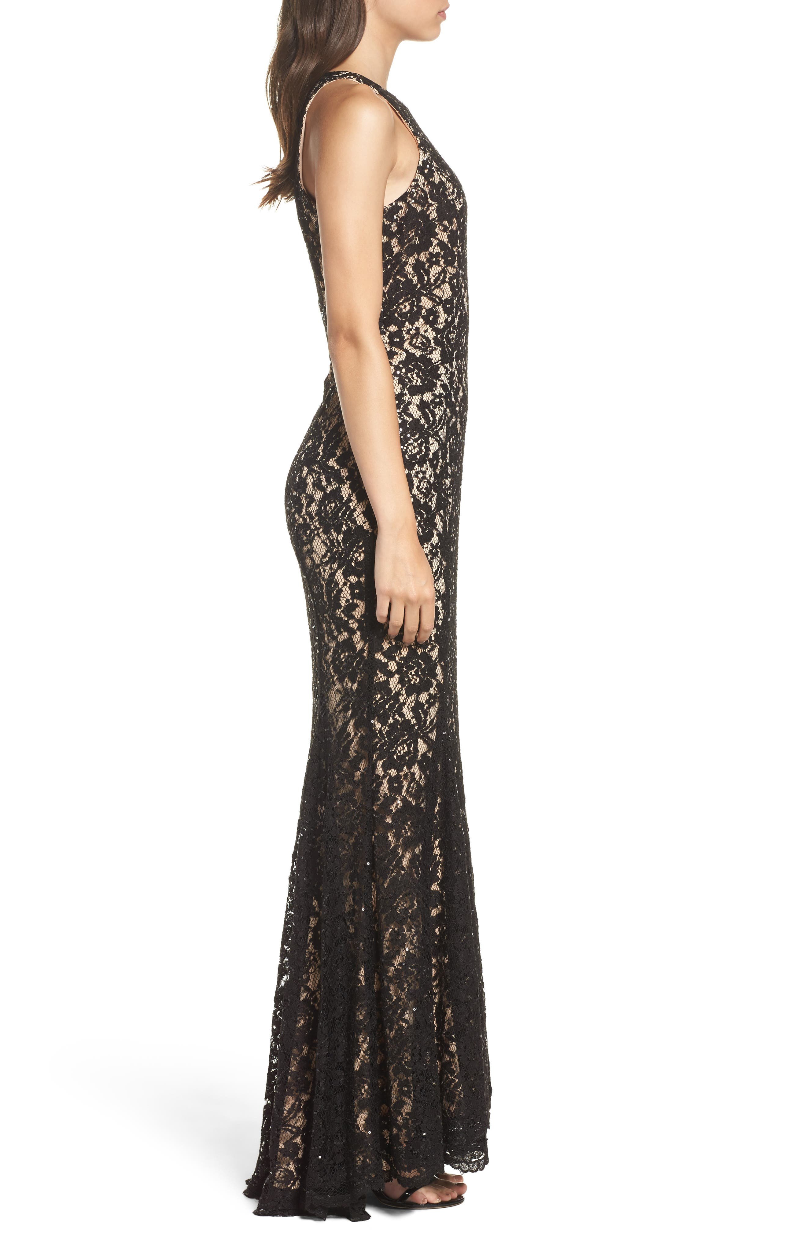 Sequin Lace Body-Con Gown,                             Alternate thumbnail 3, color,