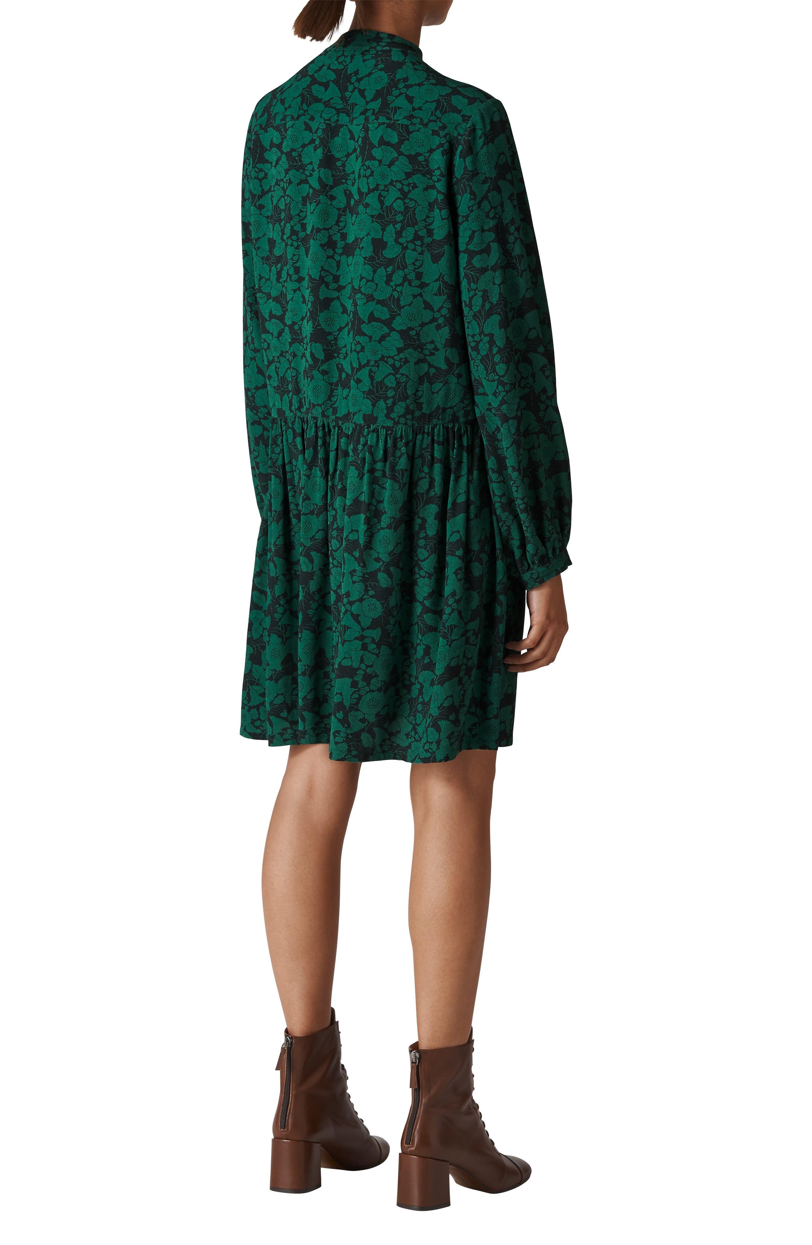 Deco Floral Print Shirtdress,                             Alternate thumbnail 2, color,                             GREEN/ MULTI