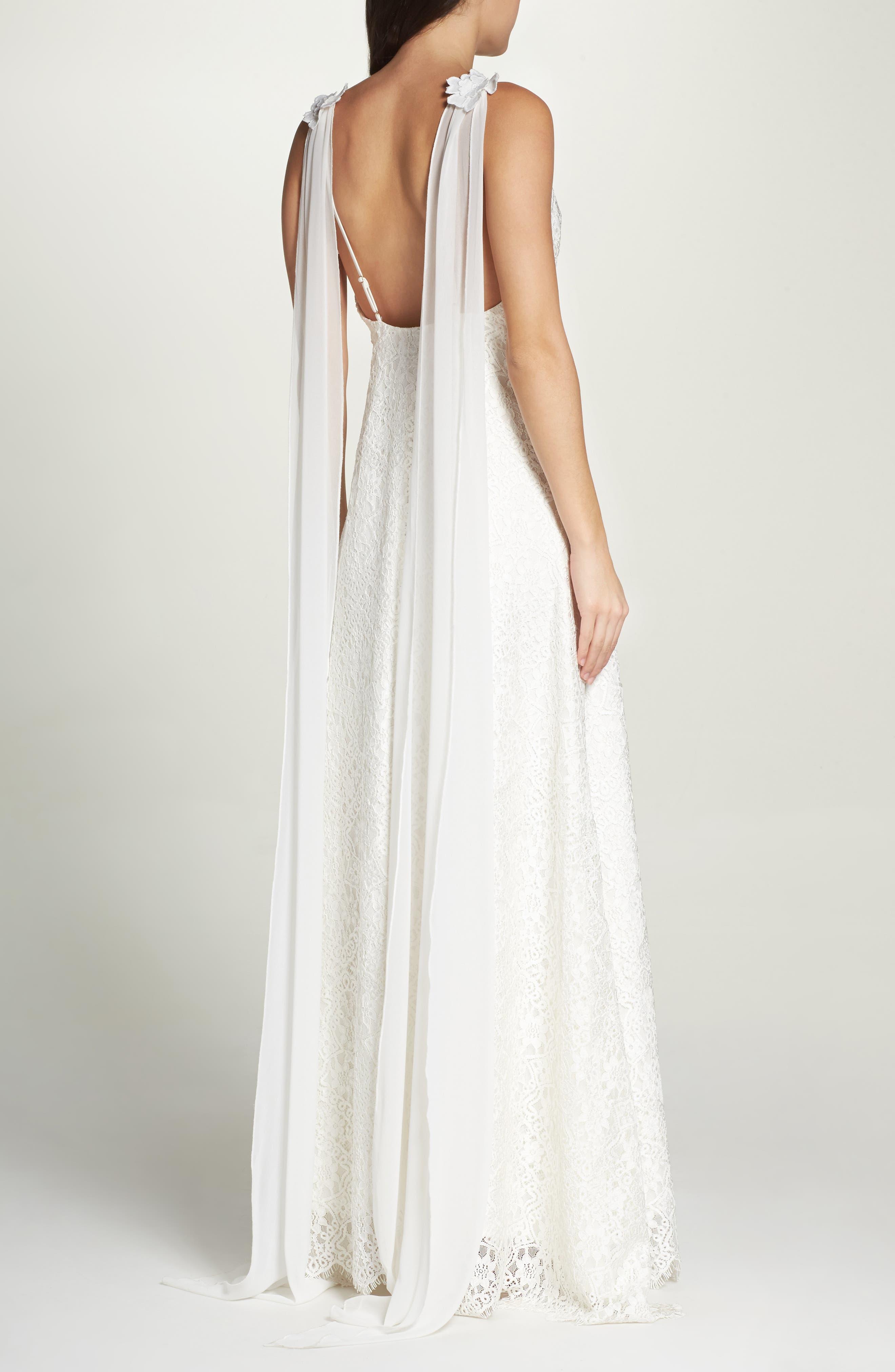 Chiffon Sash Scalloped Lace Gown,                             Alternate thumbnail 2, color,                             900