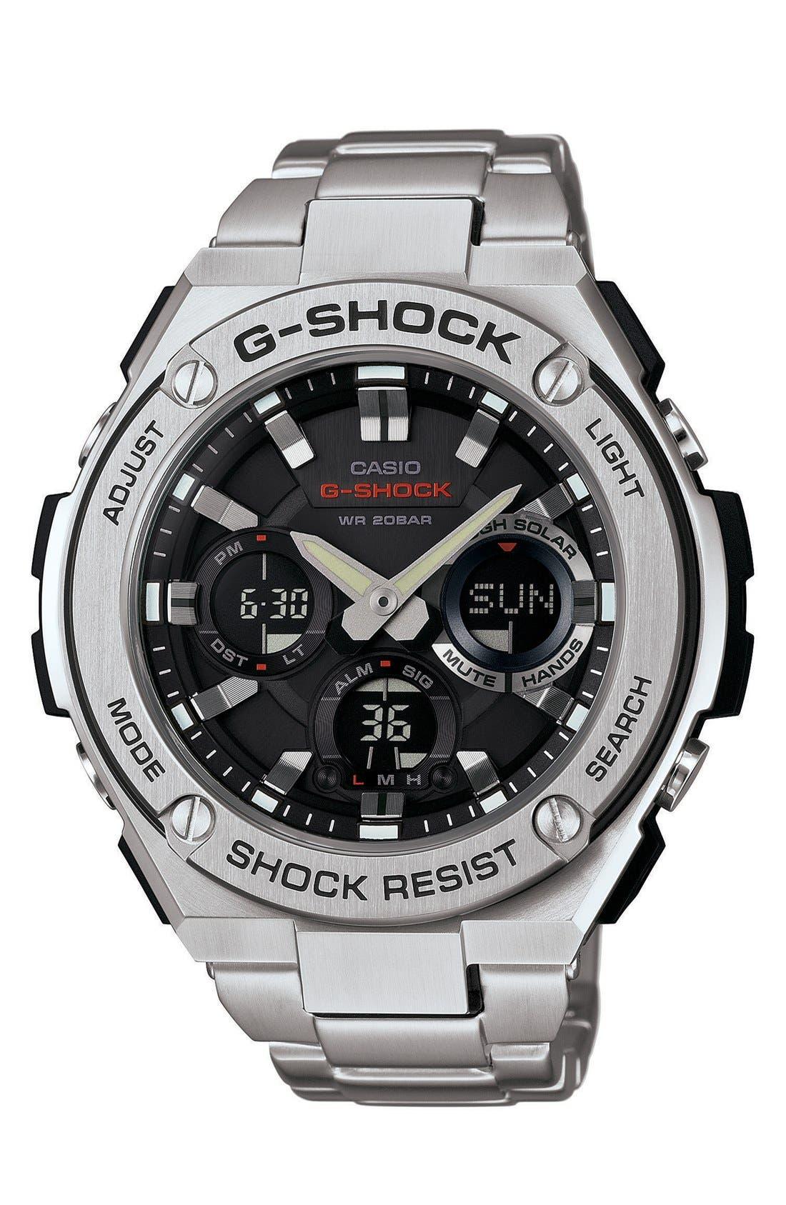 G-Shock 'G-Steel' Ana-Digi Watch, 52mm,                         Main,                         color, SILVER/ BLACK