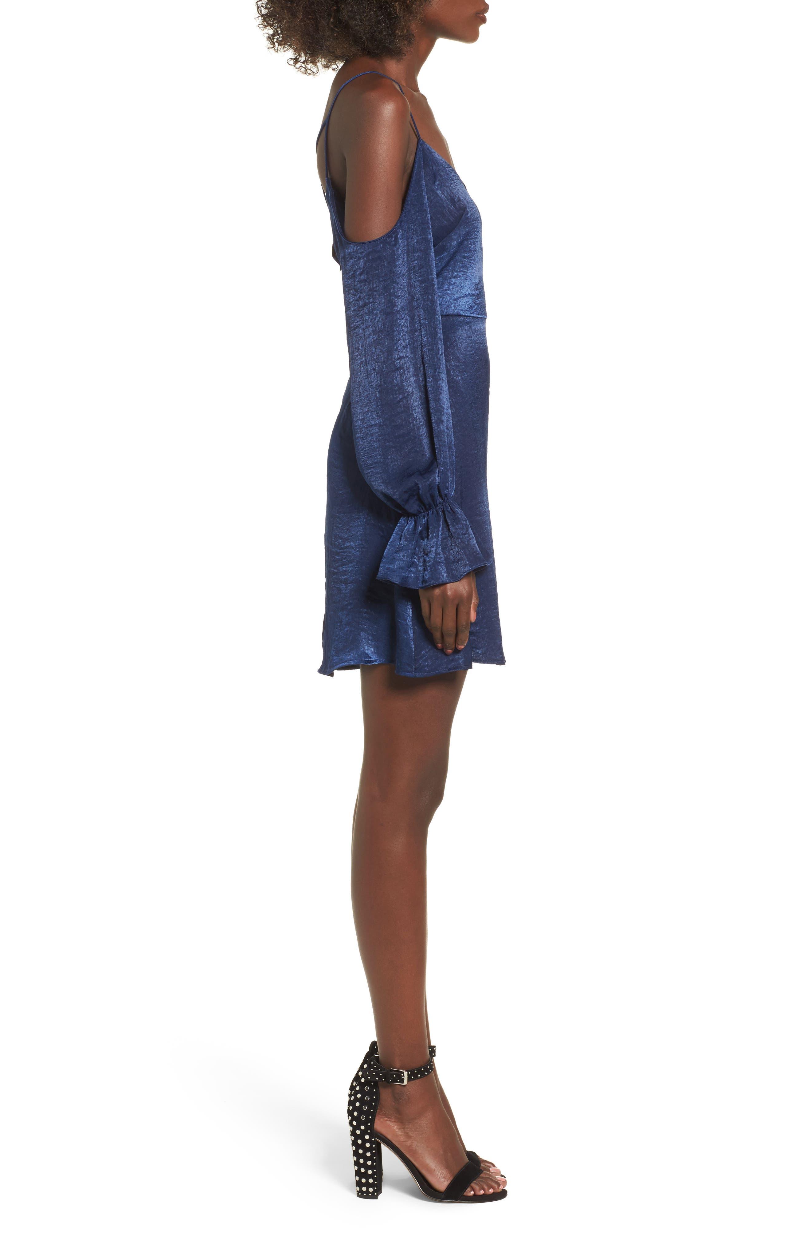 Satin Cold Shoulder Dress,                             Alternate thumbnail 3, color,                             400