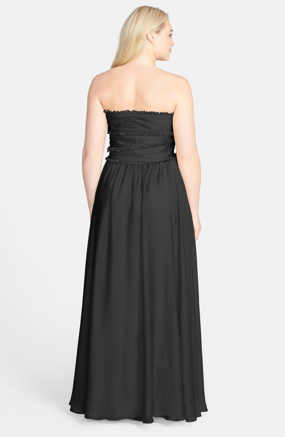 ML Monique Lhuillier Bridesmaids Strapless Chiffon Gown,                             Alternate thumbnail 34, color,