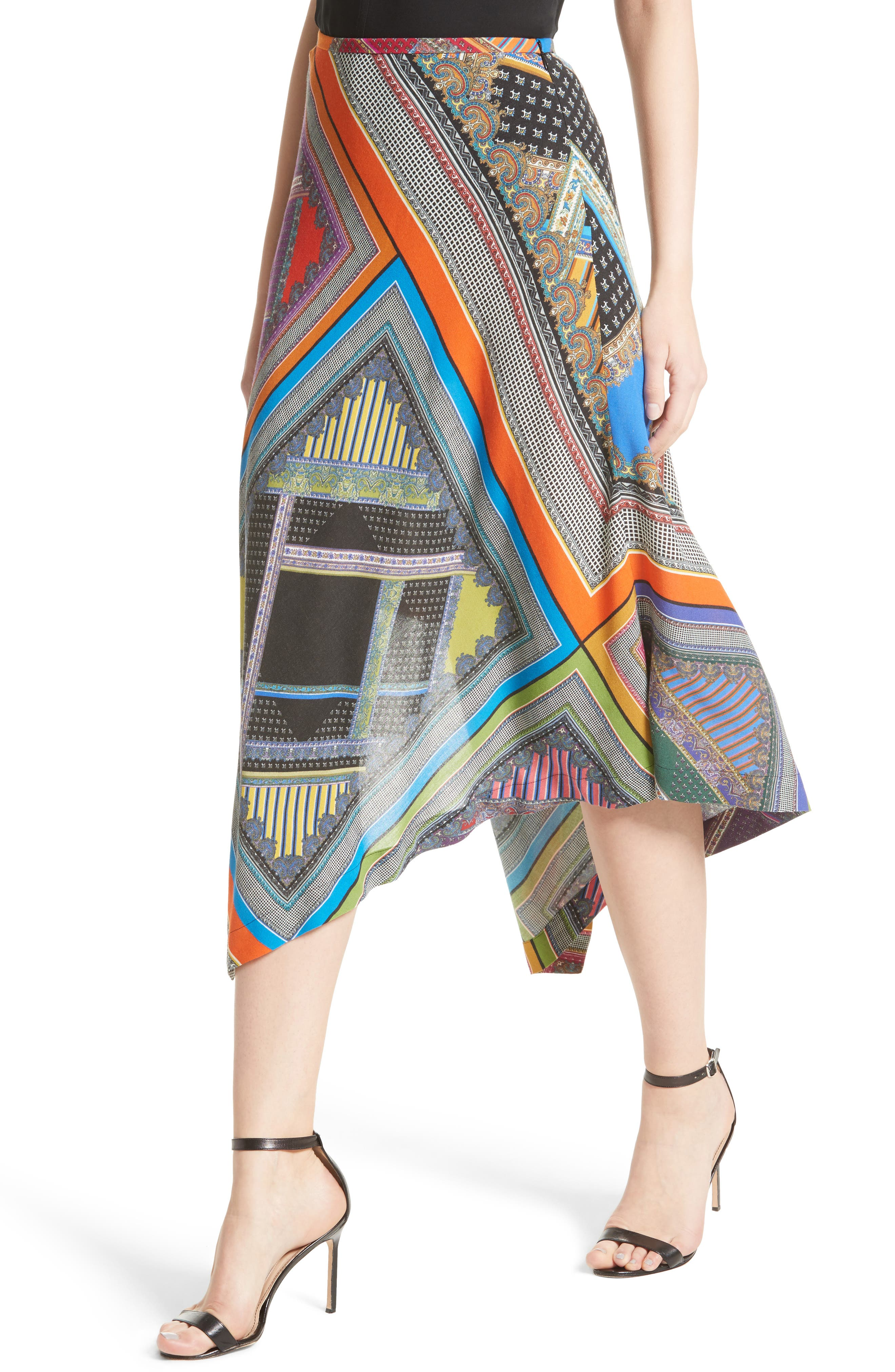 Patchwork Print Asymmetrical Skirt,                             Alternate thumbnail 4, color,                             800