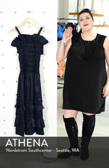 Cold Shoulder Smocked Cotton Dress, sales video thumbnail