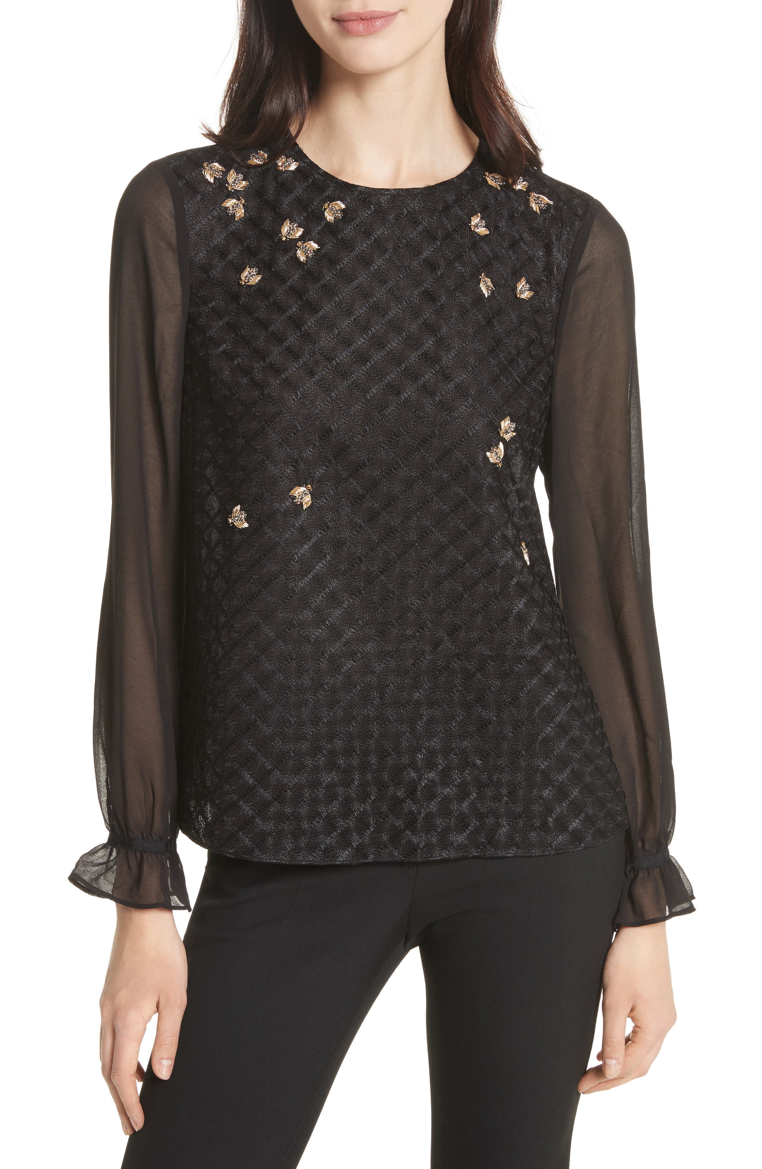 Queen Bee Embellished Top,                             Main thumbnail 1, color,                             001